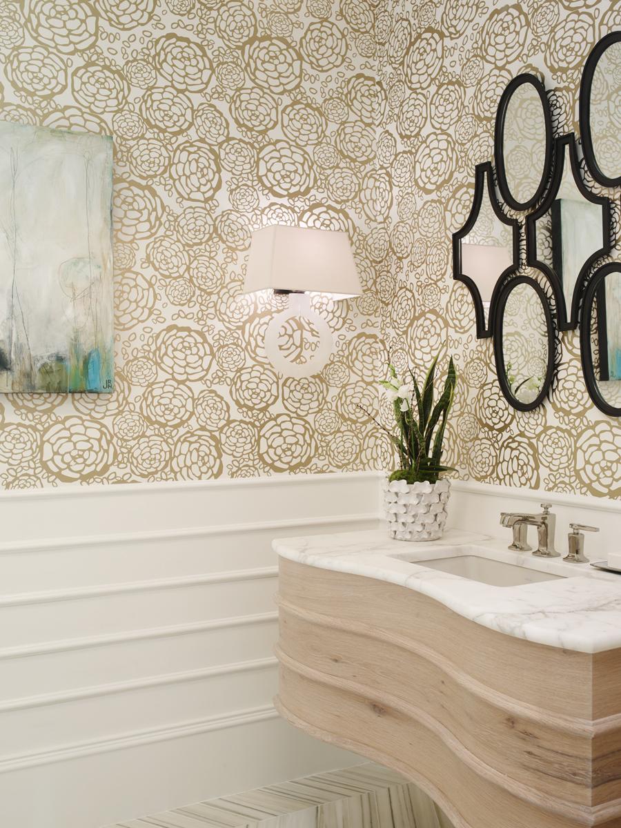 2015 atlanta symphony orchestra's decorators show house and gardens, foyer powder bathroom   emily jenkins followill photo