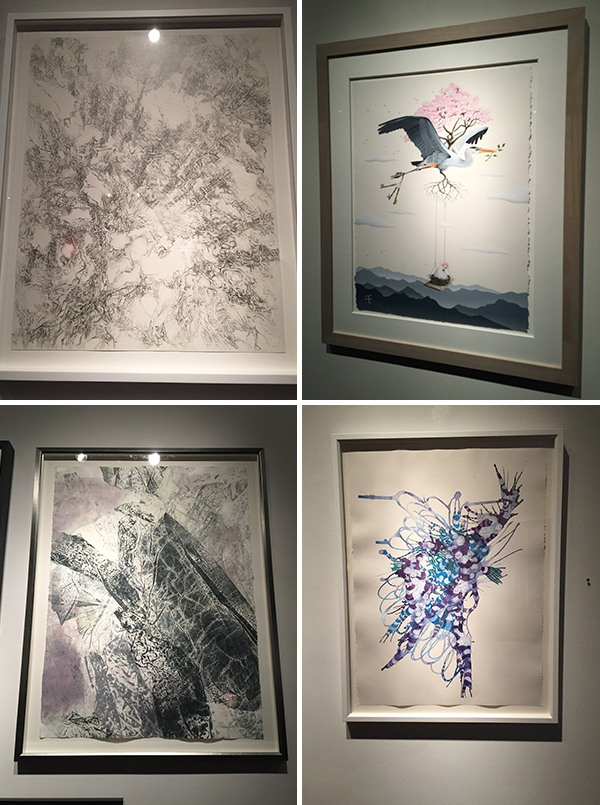 """upper left, """"i do not paint a novel...i draw poetry"""" by valentina custer o'roark, upper right, """"above and beyond"""" by thomas turner, lower left, """"zgubna postac III"""" by anna kenar, and lower right, """"cluster"""" by allusion parker-shockley"""