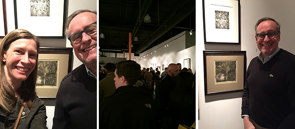 """yay steve!!!! here is his piece, """"celebration""""; also a shameless selfie and a group shot of other gallery goers :)"""