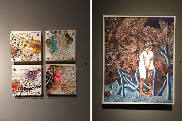 "left, ""biological fragment"" by niki zarrabi and right, ""dream #1"" by hwahyun kim"