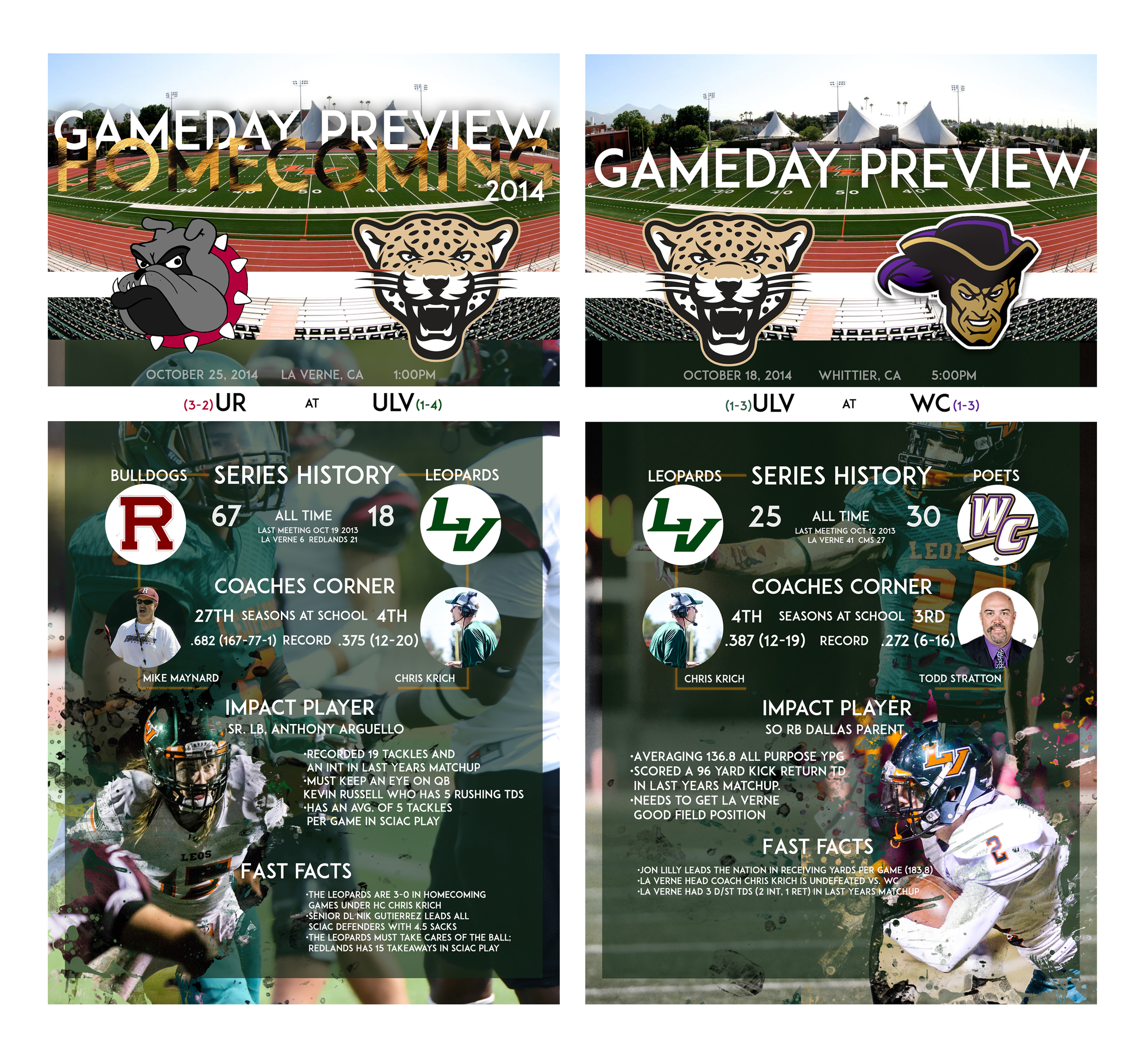 Preview graphics done for the University of La Verne football team for that weeks contest.