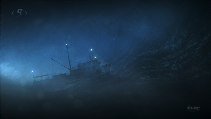 Credits for Compositing wind, splashes, sprays and atmospheric elements and color correction. Ship animation by Dimitri Ludeman. Aired on Nat Geo Channel [Sept 16 2012]