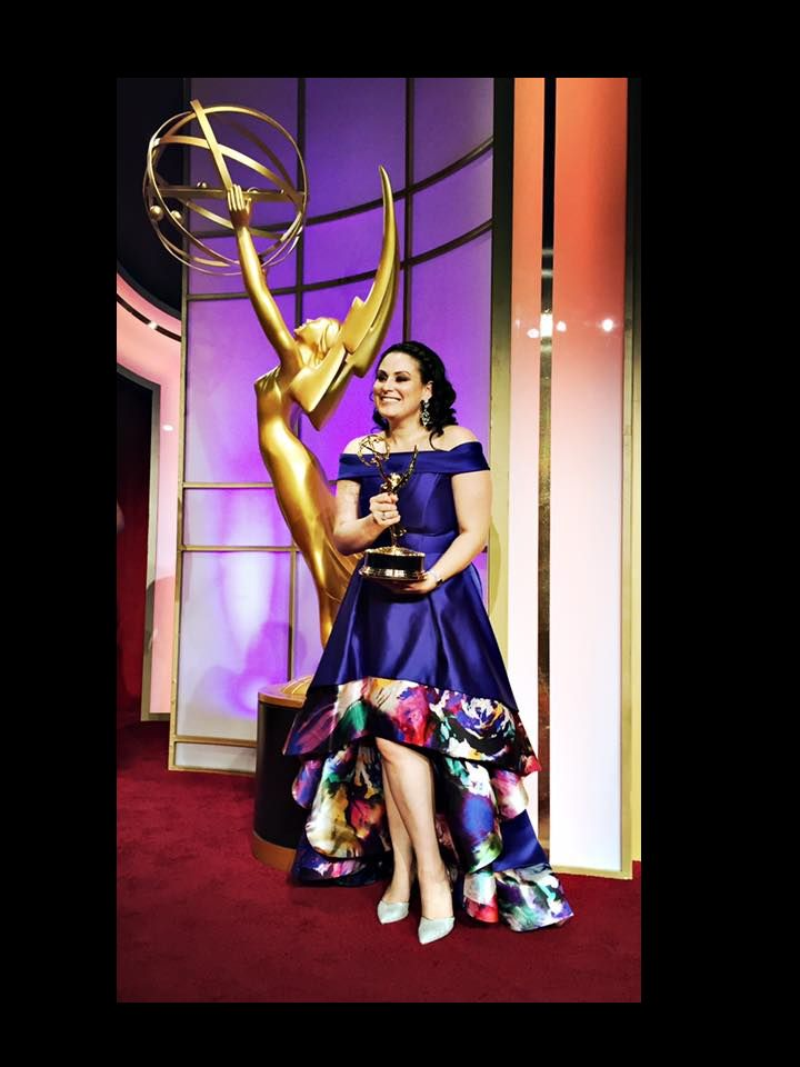 Christine Toye wearing a gown she made at the 2016 Daytime Emmy Awards.