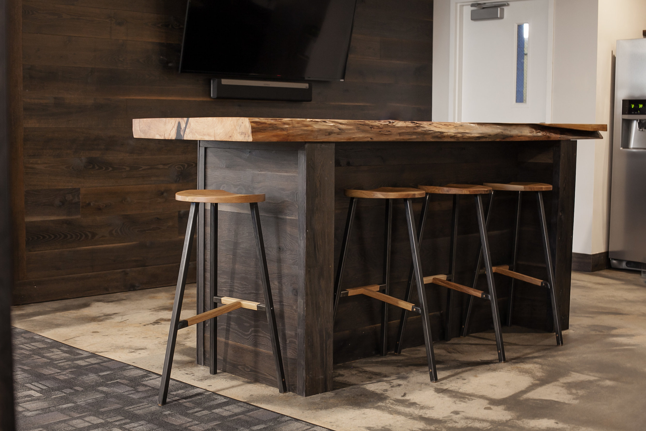 Furniture island table with stools Georgia Metal Fabrication