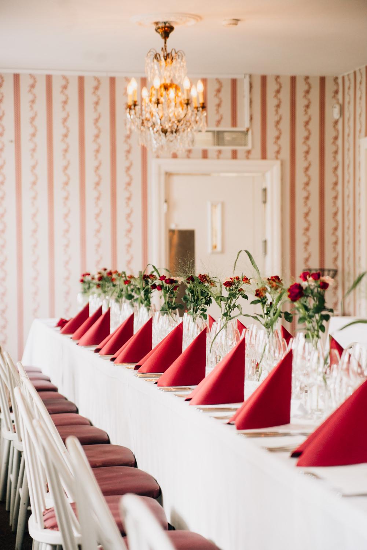 Bröllopsdukning på Ulricedahlsgården