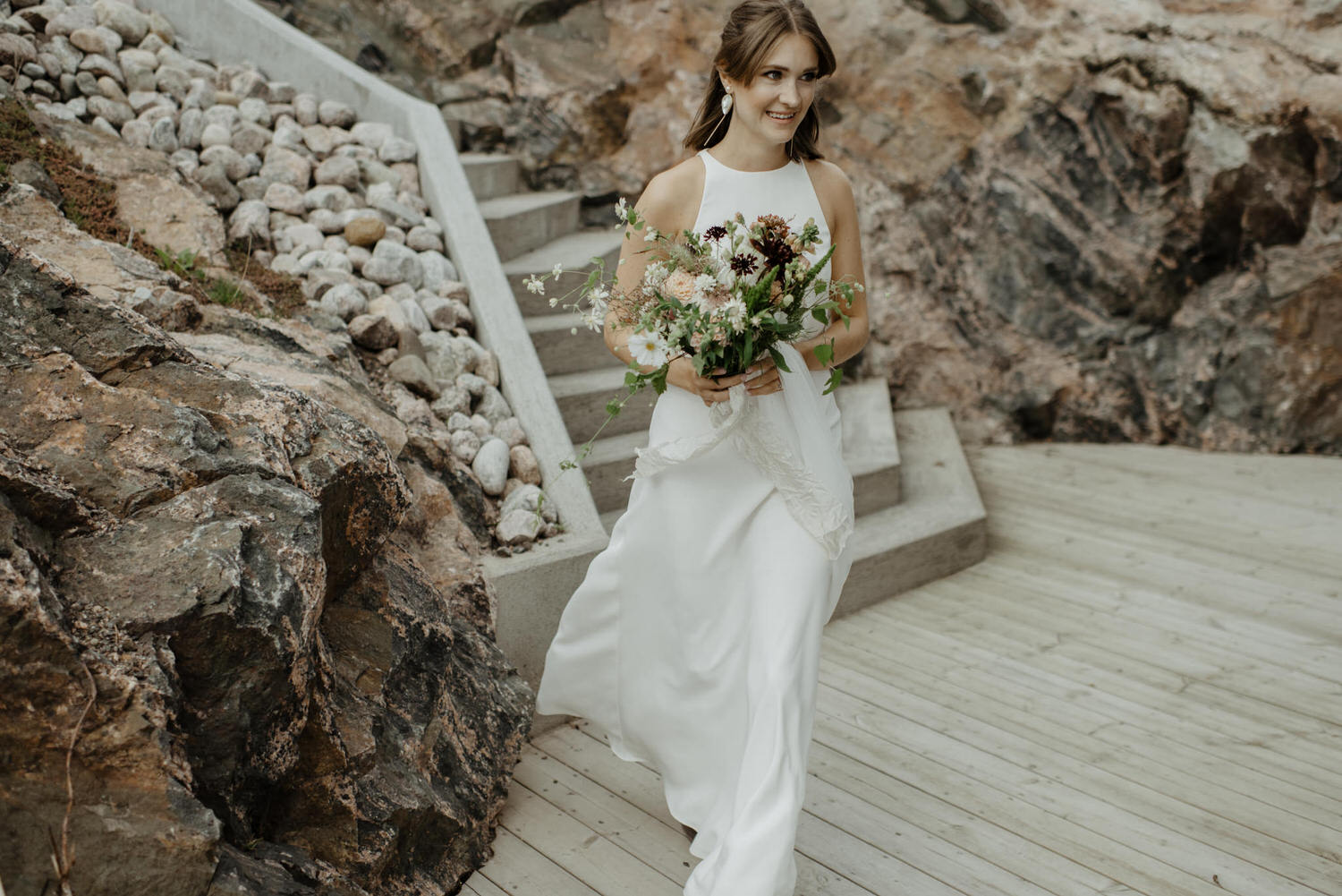 Clara in her chic BHLDN wedding dress
