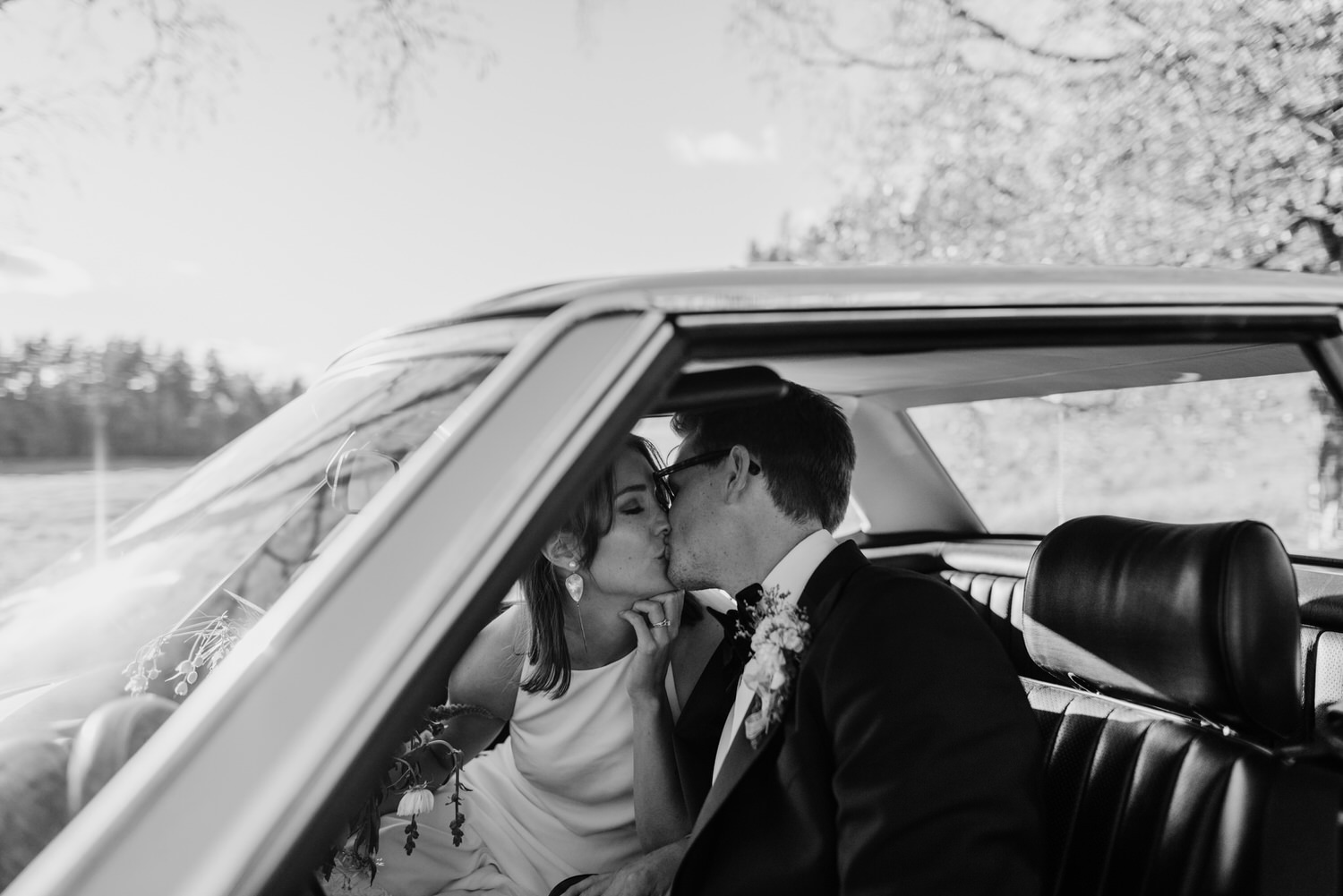 Timeless car wedding portrait