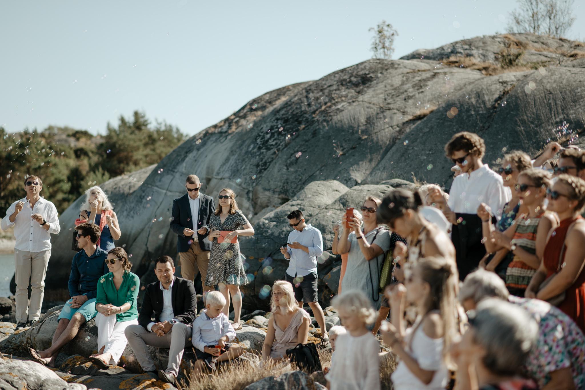 Såpbubblor på bröllop