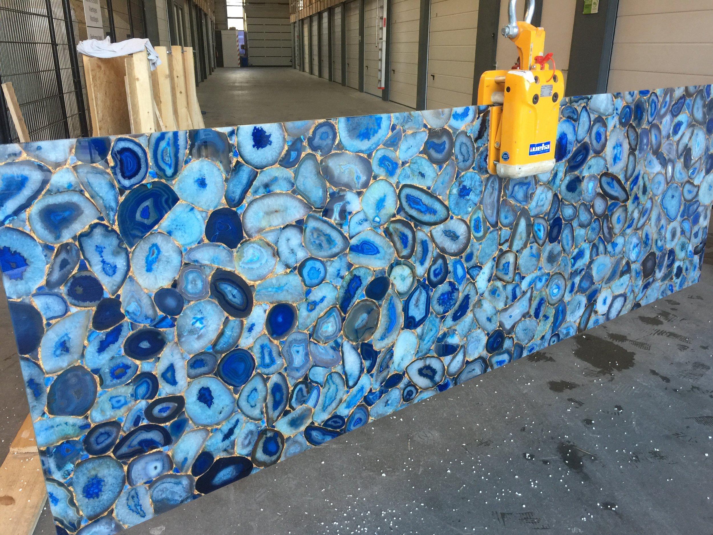 Blauwe agathe gemstone