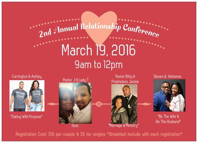 The 2nd Annual TRC Relationship Conference is scheduled for March 19th, So there is still time for you to register. Registration for couples is $10 and singles are $5. Go online to day and reserve your spot.    http://www.trcconnection.org/apps/webstore/