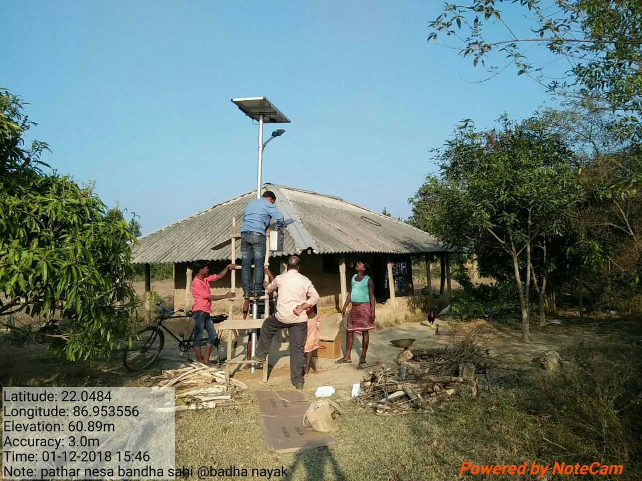 A stand-alone streetlight being installed in Mayurbhanj.