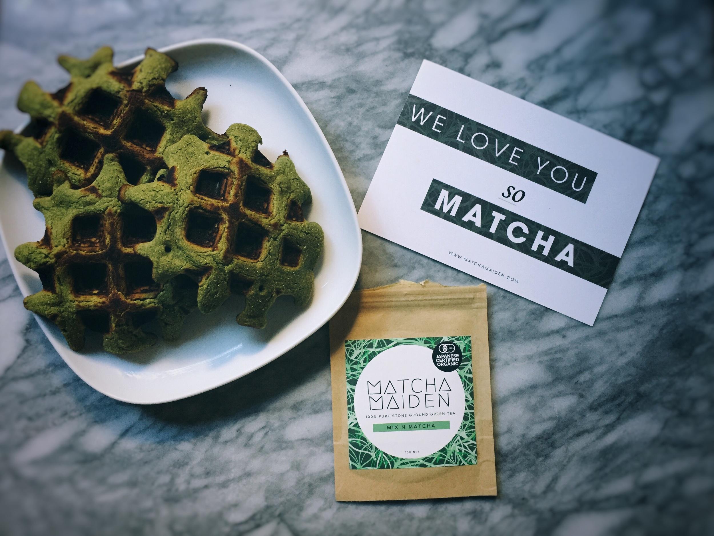 Matcha Green Tea Waffles w/ Matcha Maiden