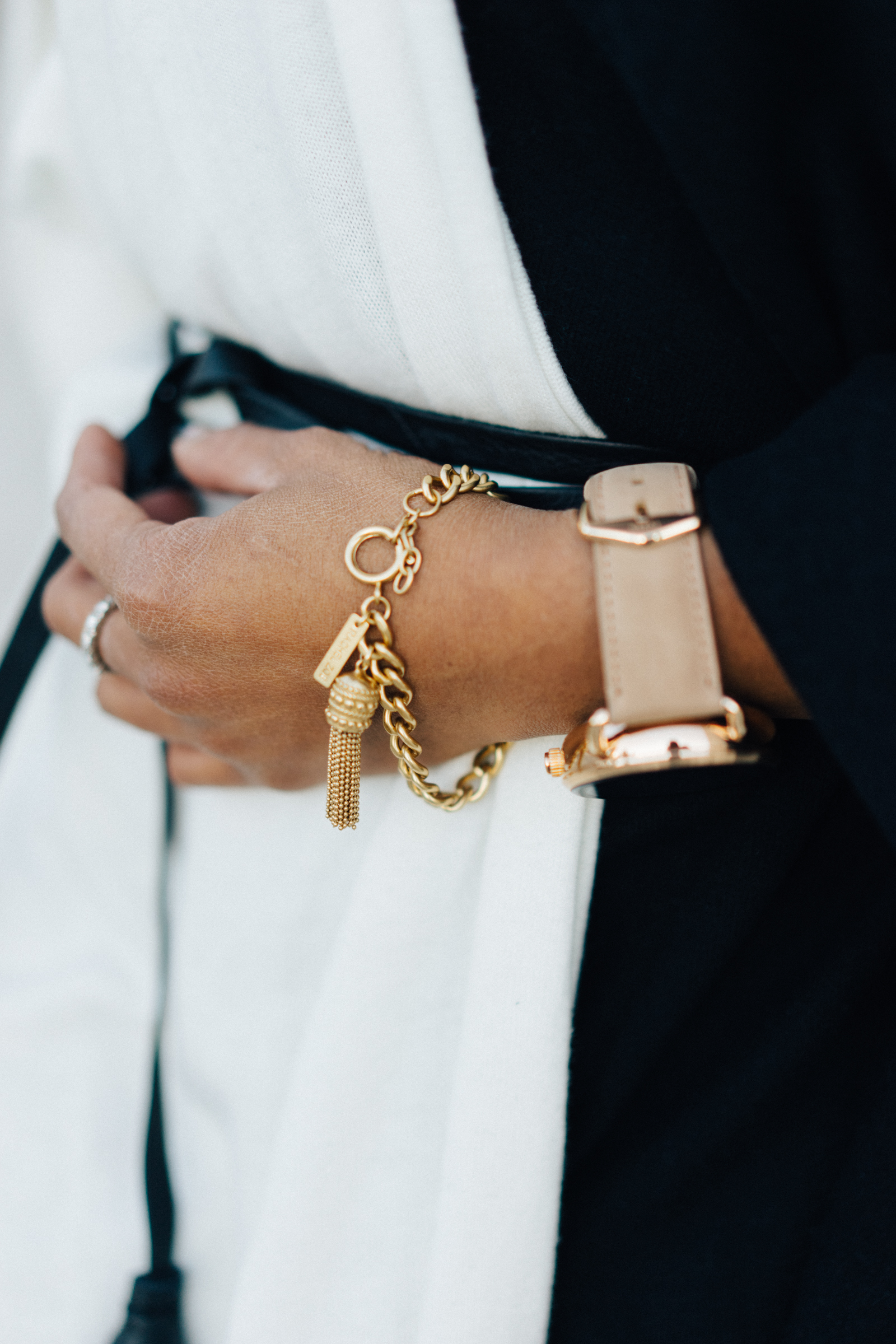 Tassel Bracelet by Rachel Zoe  Gatsby Wrap belt by B-Low the Belt