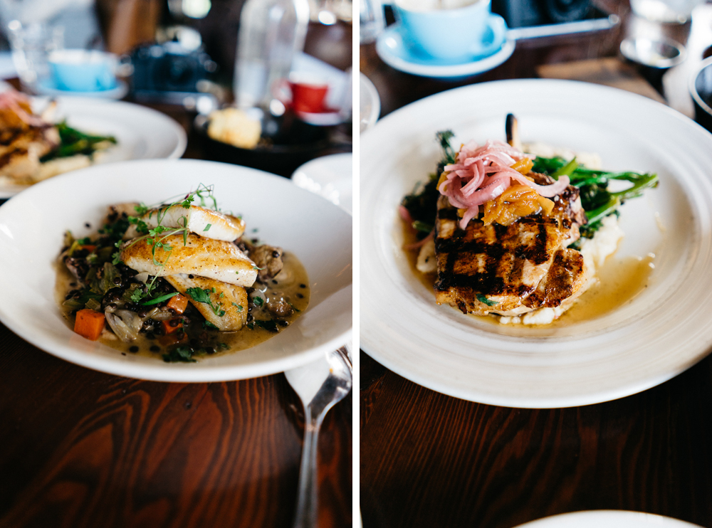 Left: Local Petrale Sole   Right: Wood Grilled Heritage Pork Chops