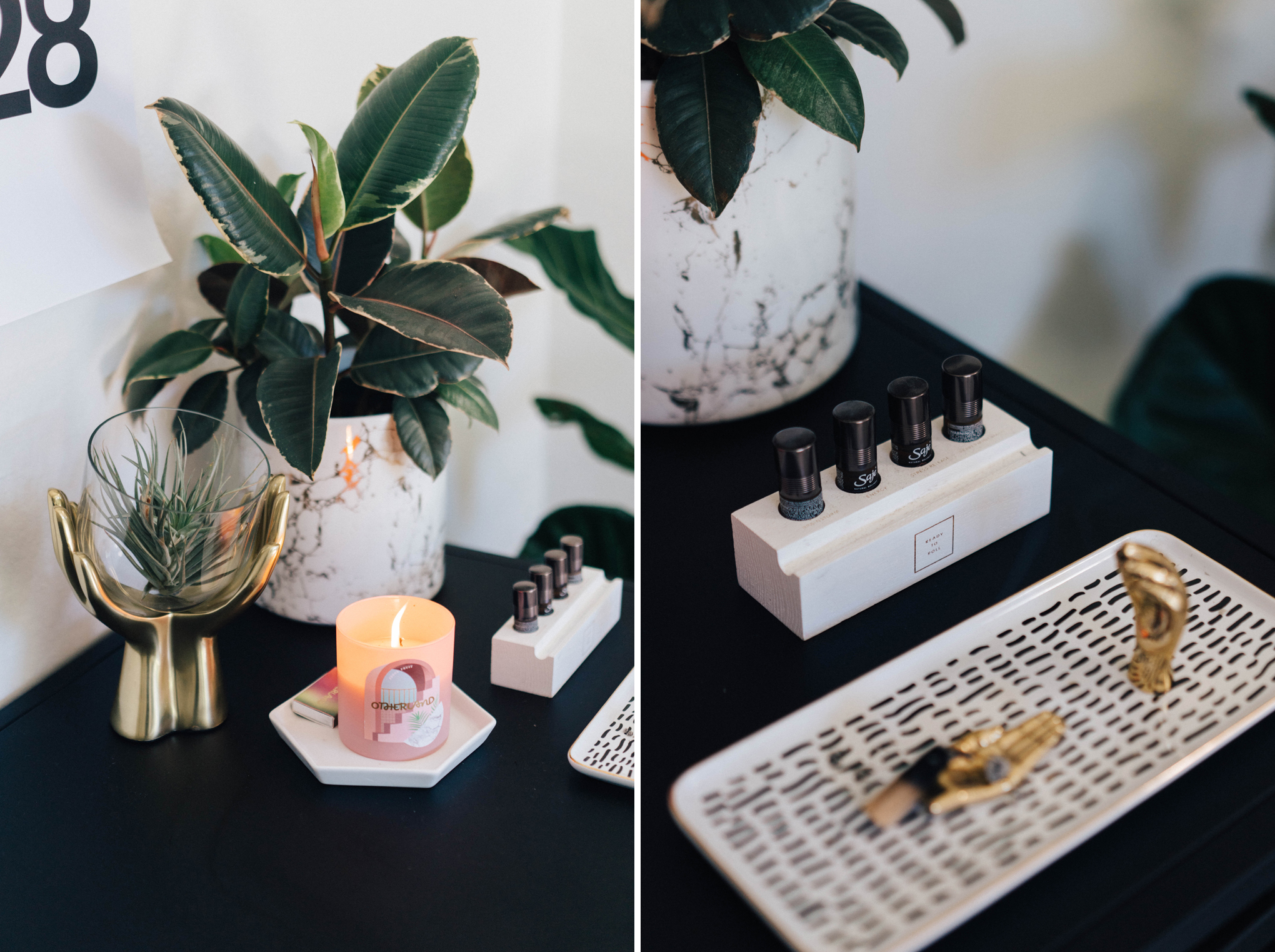 Brass Hands Terrarium  gives a touch of playfulness to the workspace.  Handy incense holder  for moments when you need an extra set of hands.