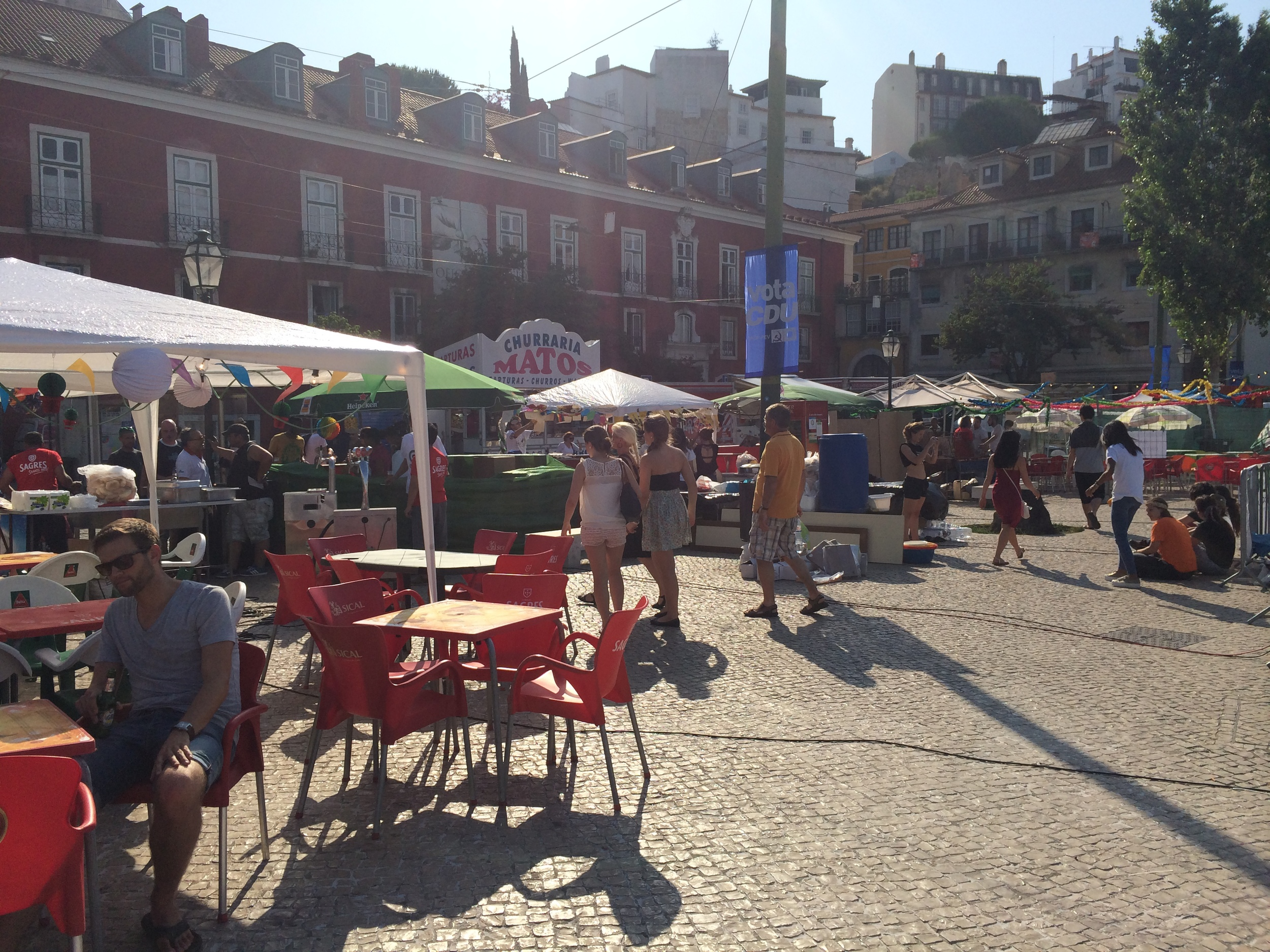 The city streets were full of people setting up for the Festival of Santo Antonio.