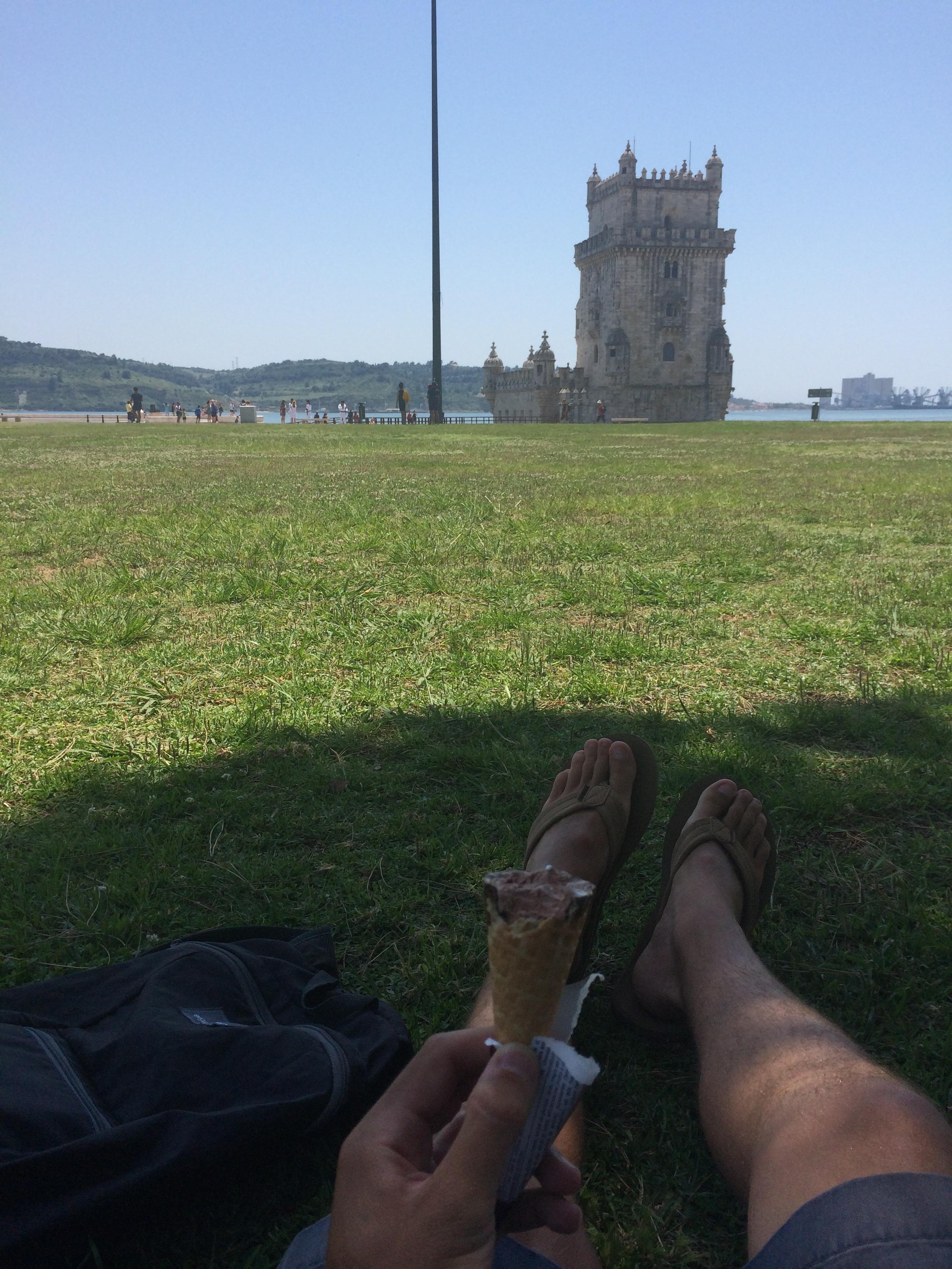 Ice cream break in front of the Torre de Belém.