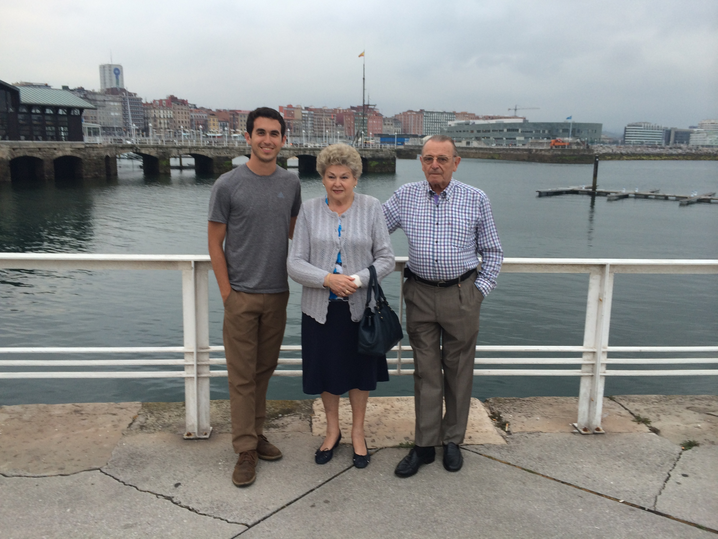 Picture of Pepin, Carmen, me next to the old port in Gijon.