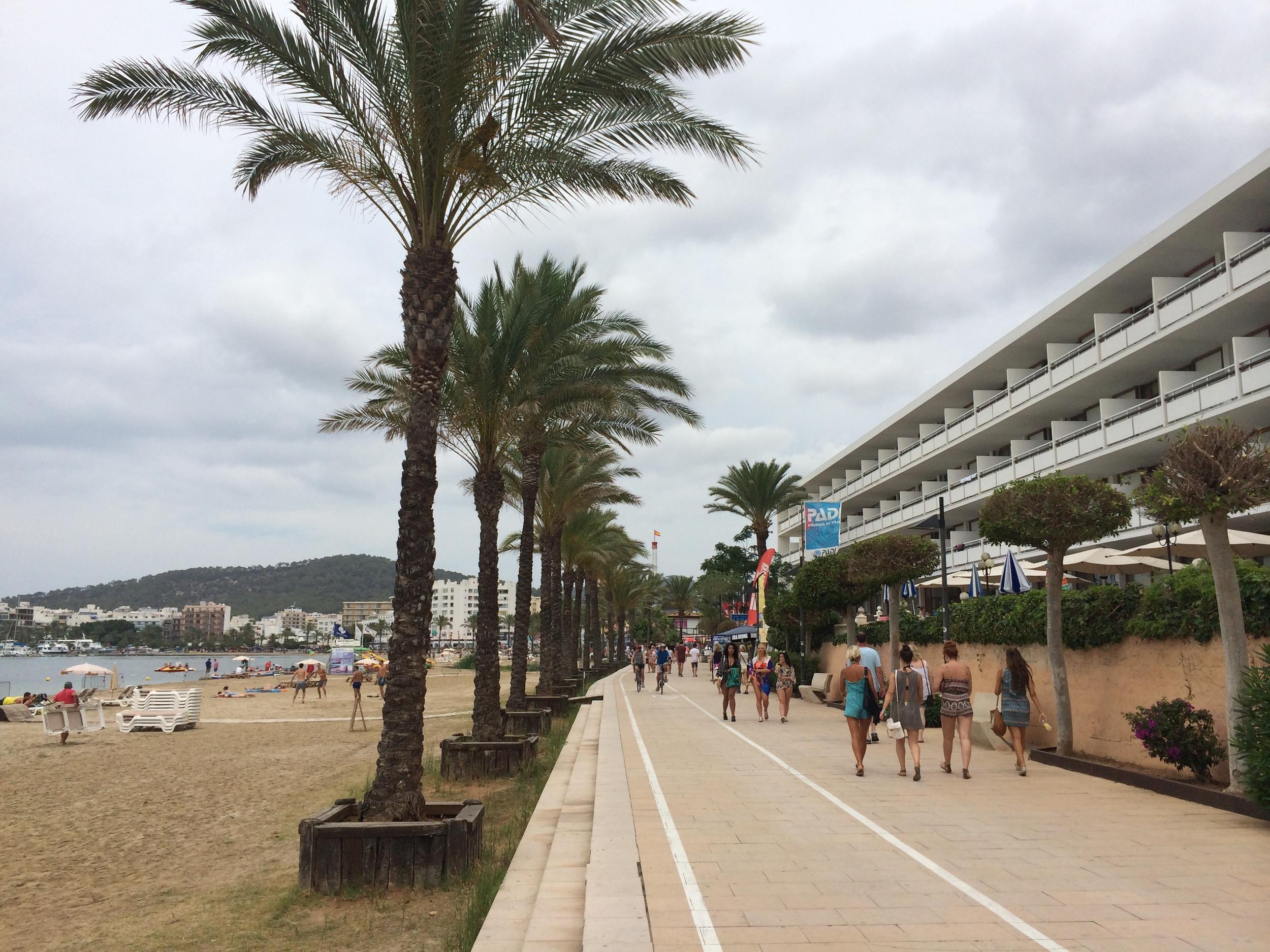 The main thoroughfareof St. Antoni along the beach.