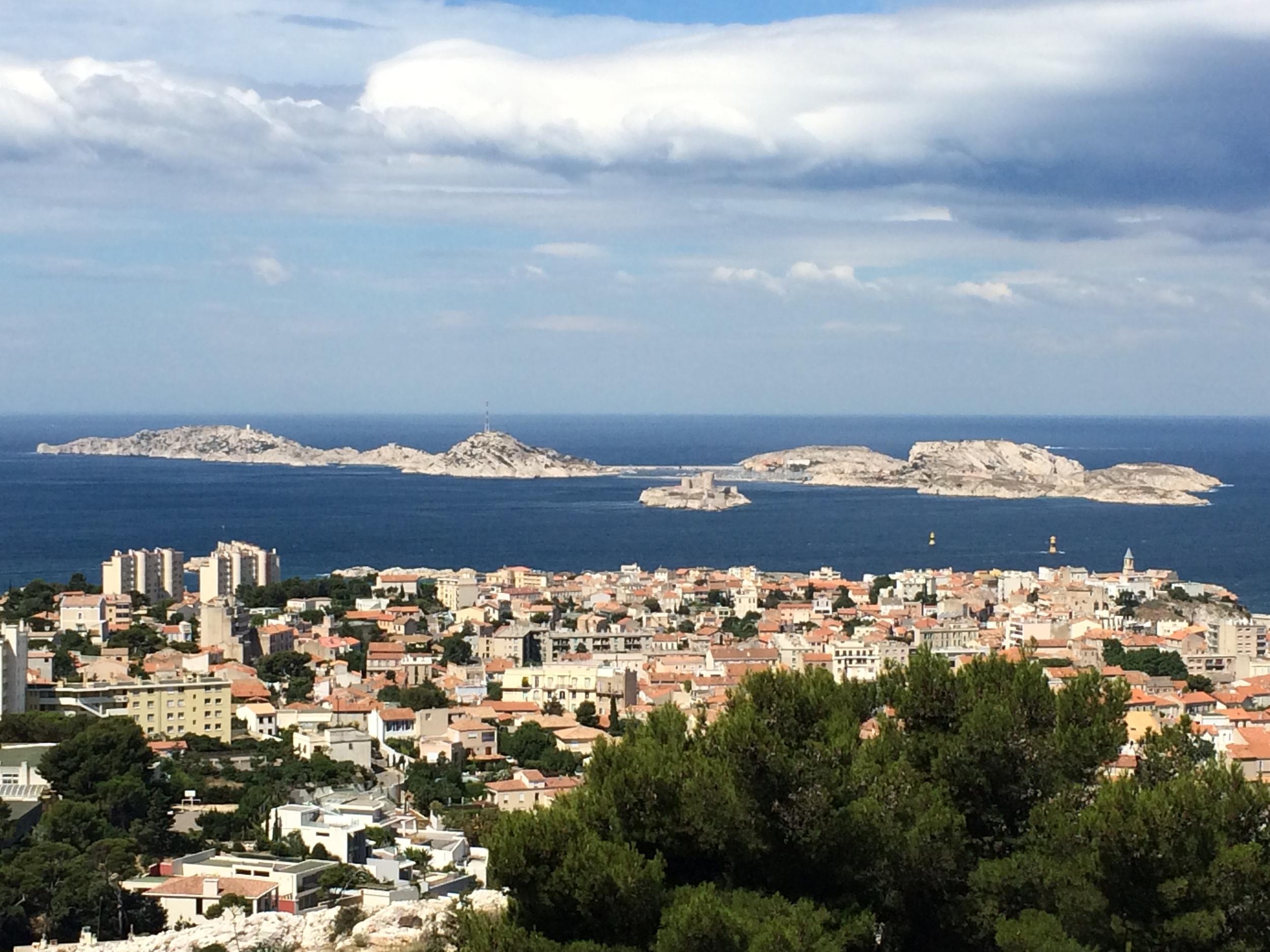View of theFrioul Archipelago fromNotre-Dame de la Garde.