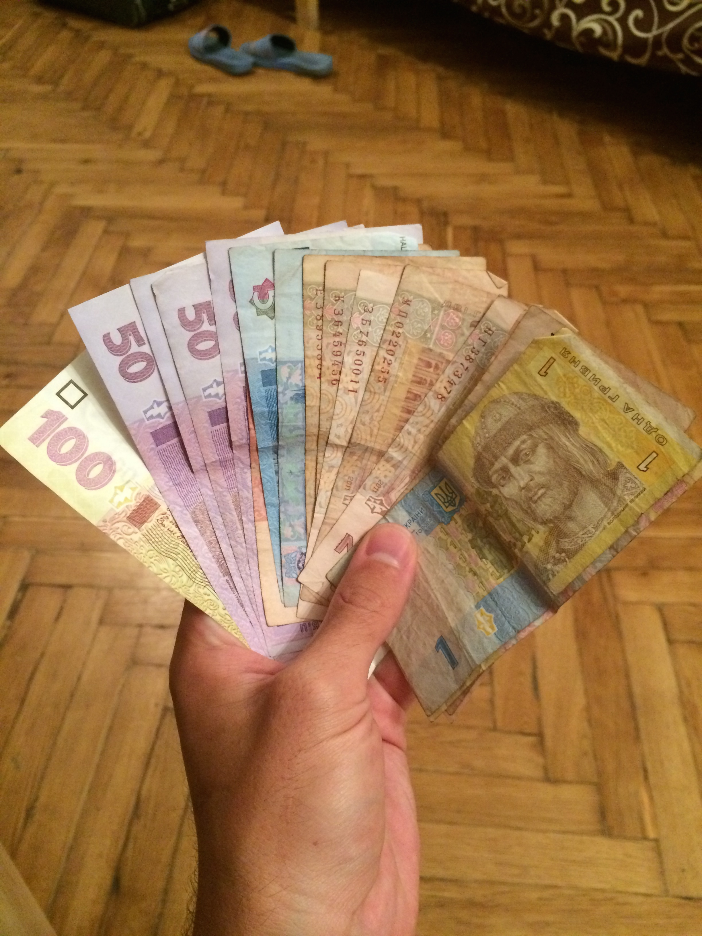 I felt like a wealthy man when I exchanged my 15 Euros for this nice wad of cash.