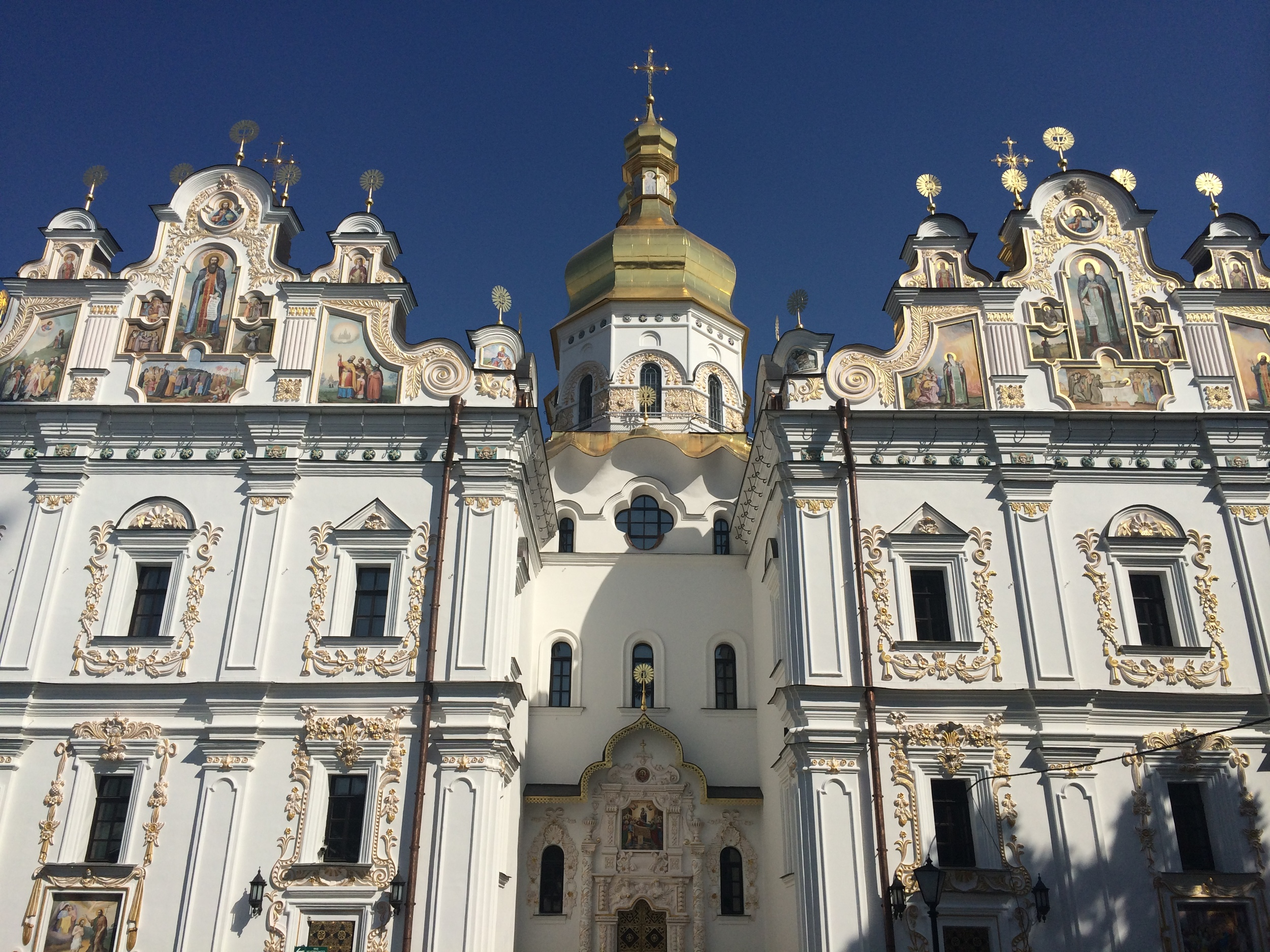 The reconstructed Cathedral of the Dormition in the Kiev Cave Monastery complex.