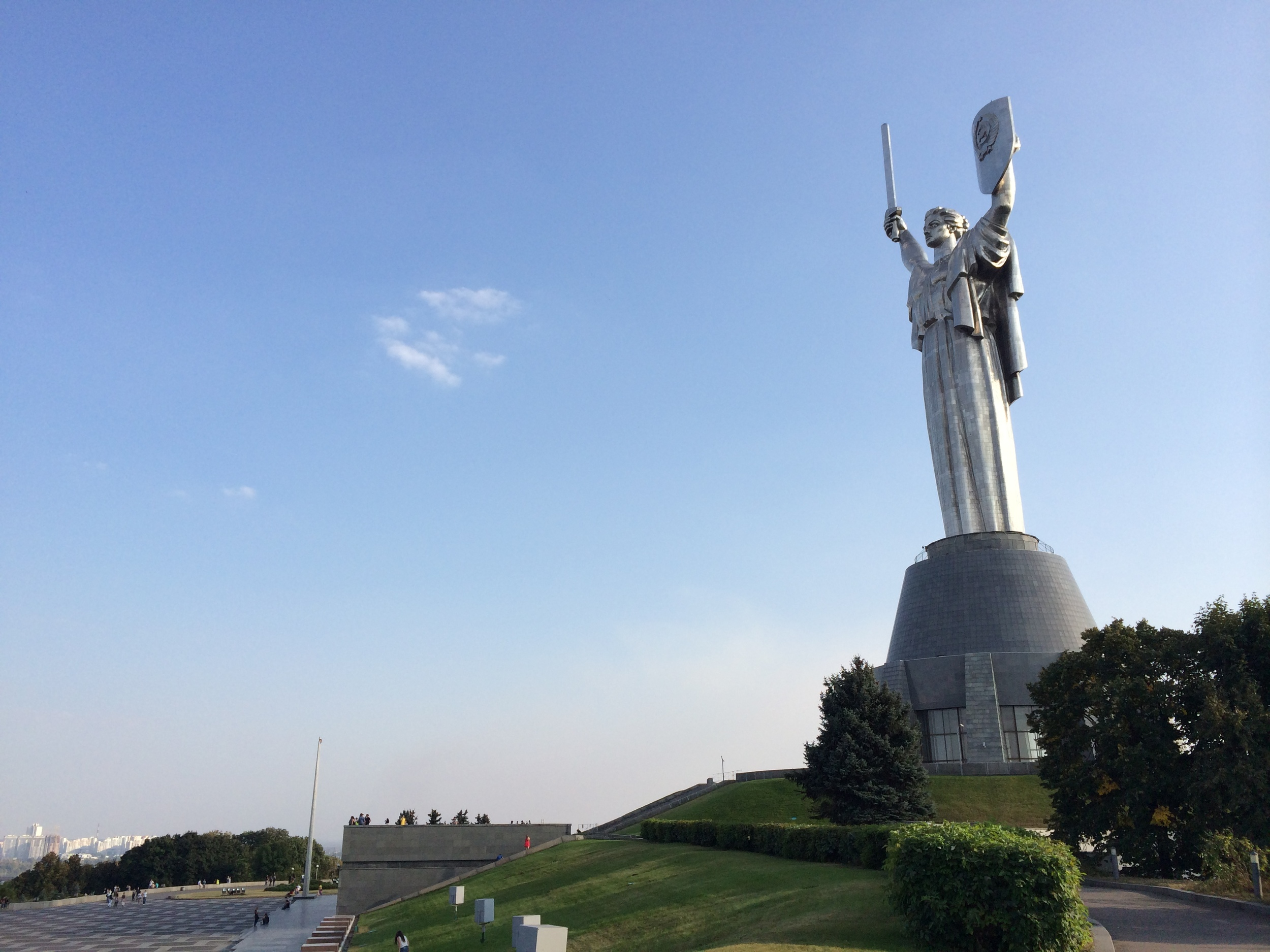 The Motherland Monument above the Kiev War Museum. The city is littered with reminders of Ukraine's old Soviet days.