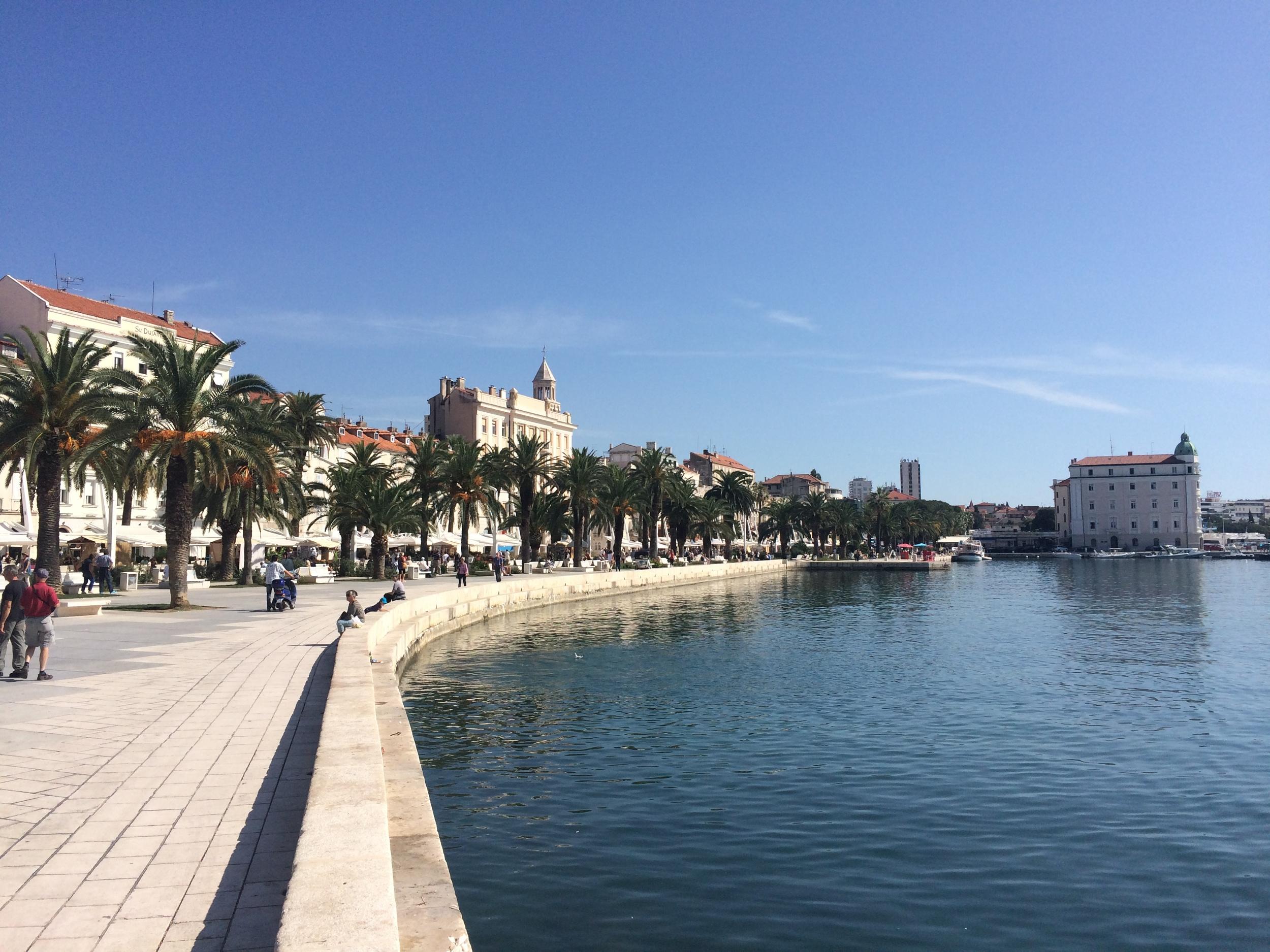 The main promenade along the water in Split, Croatia.