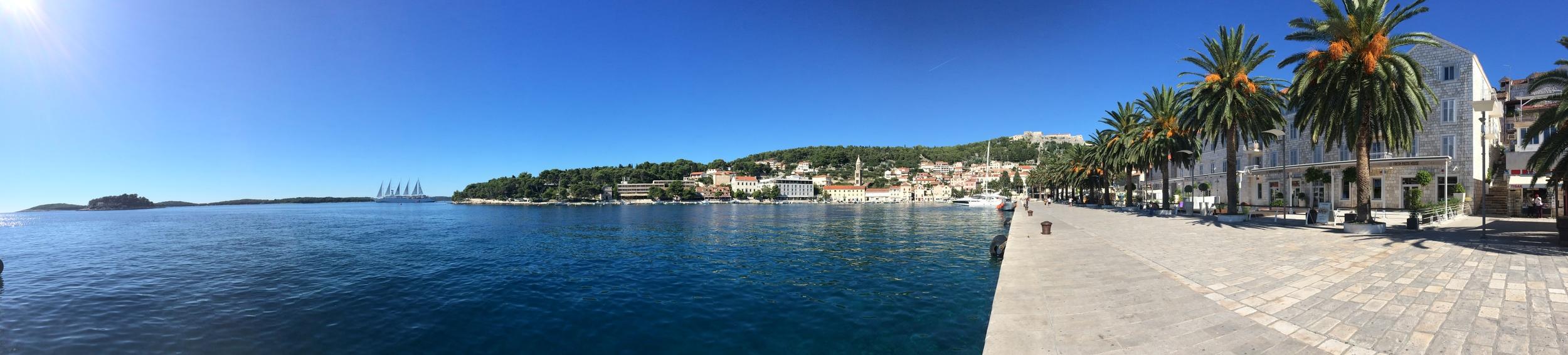 Panoramic shot of Hvar port in the city center.
