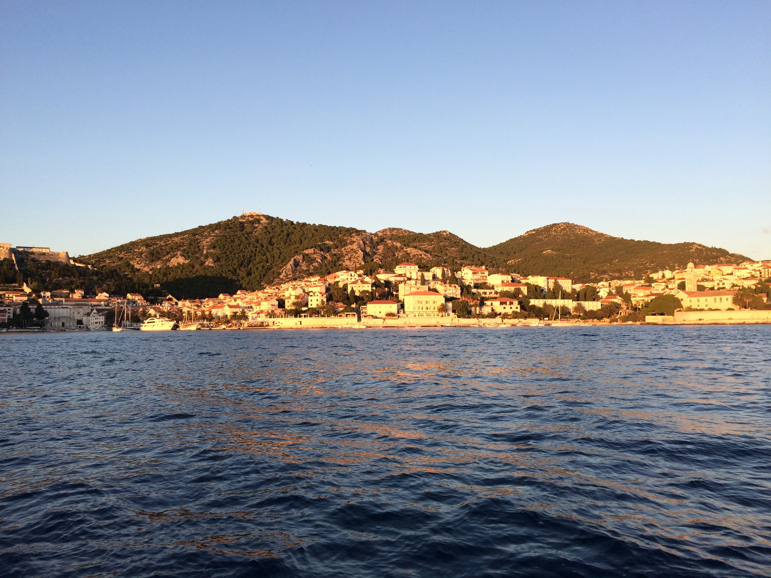 View of Hvar Town at sunset.