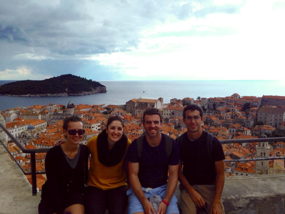 On the walls of Dubrovnik. From left to right: Michelle, Ellouise, Jeremy, and yours truly.