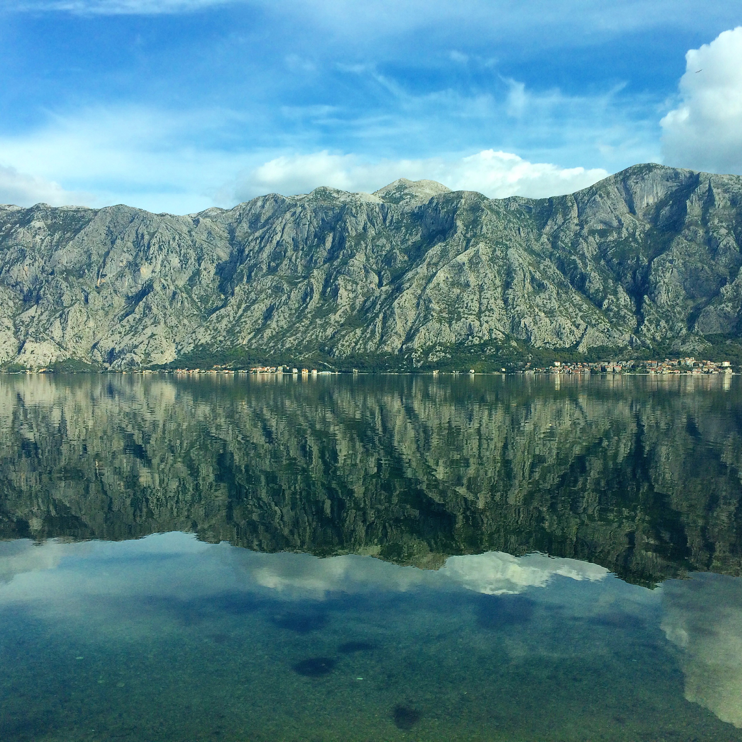 View of the mountains from along the Gulf of Kotor.