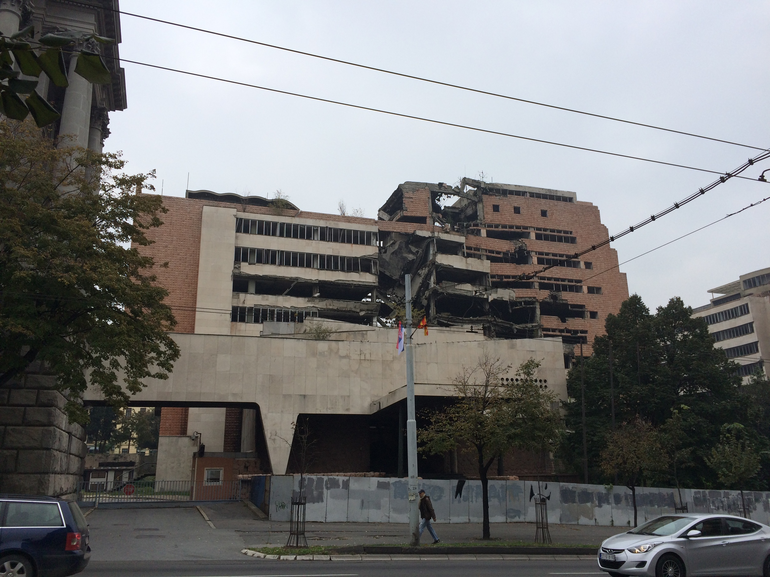 My first view of Belgrade: the ruins of the old bombed NATO buildings. You can still see remnants of the war even to this day.