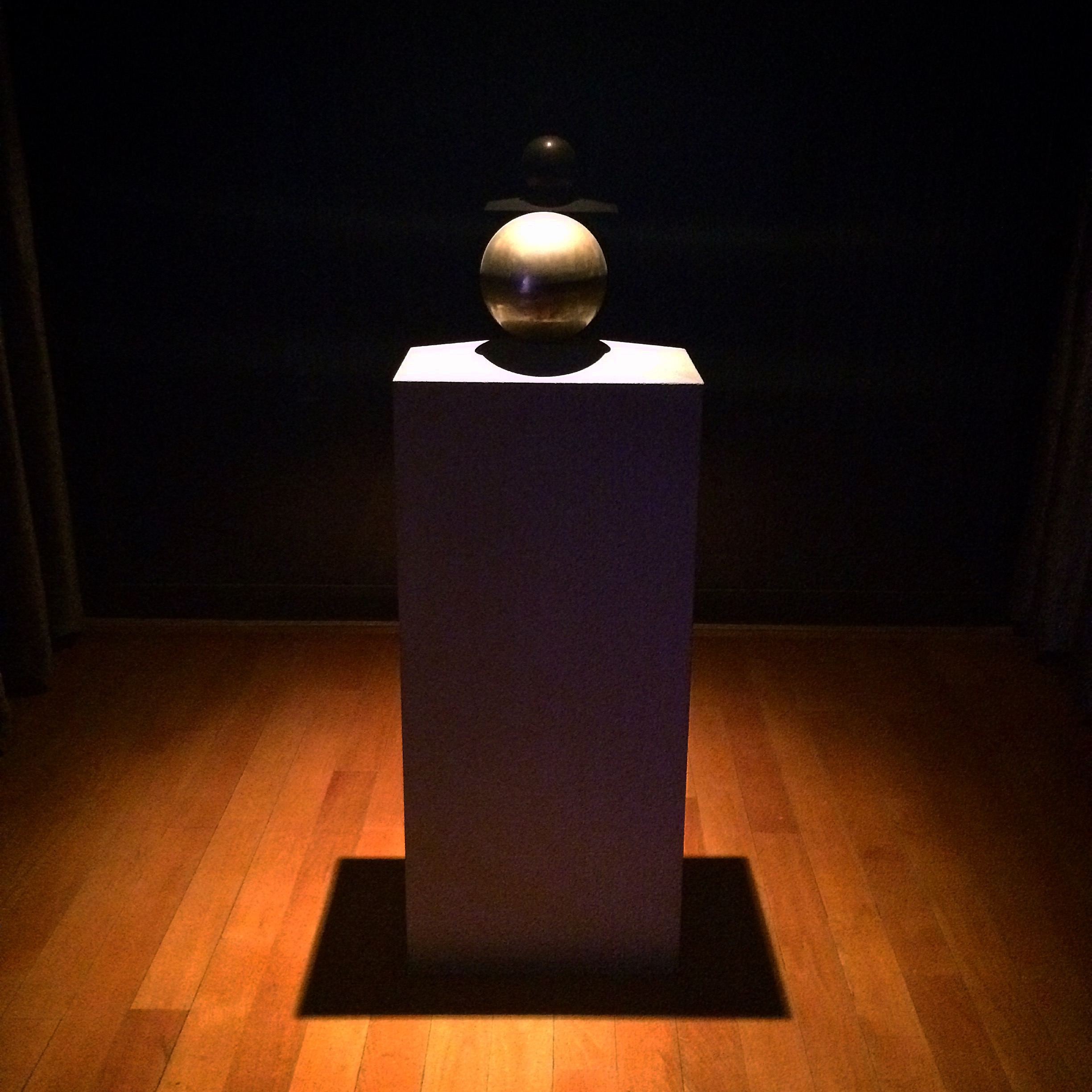 The ashes of Nicola Tesla on display in the back of the museum.