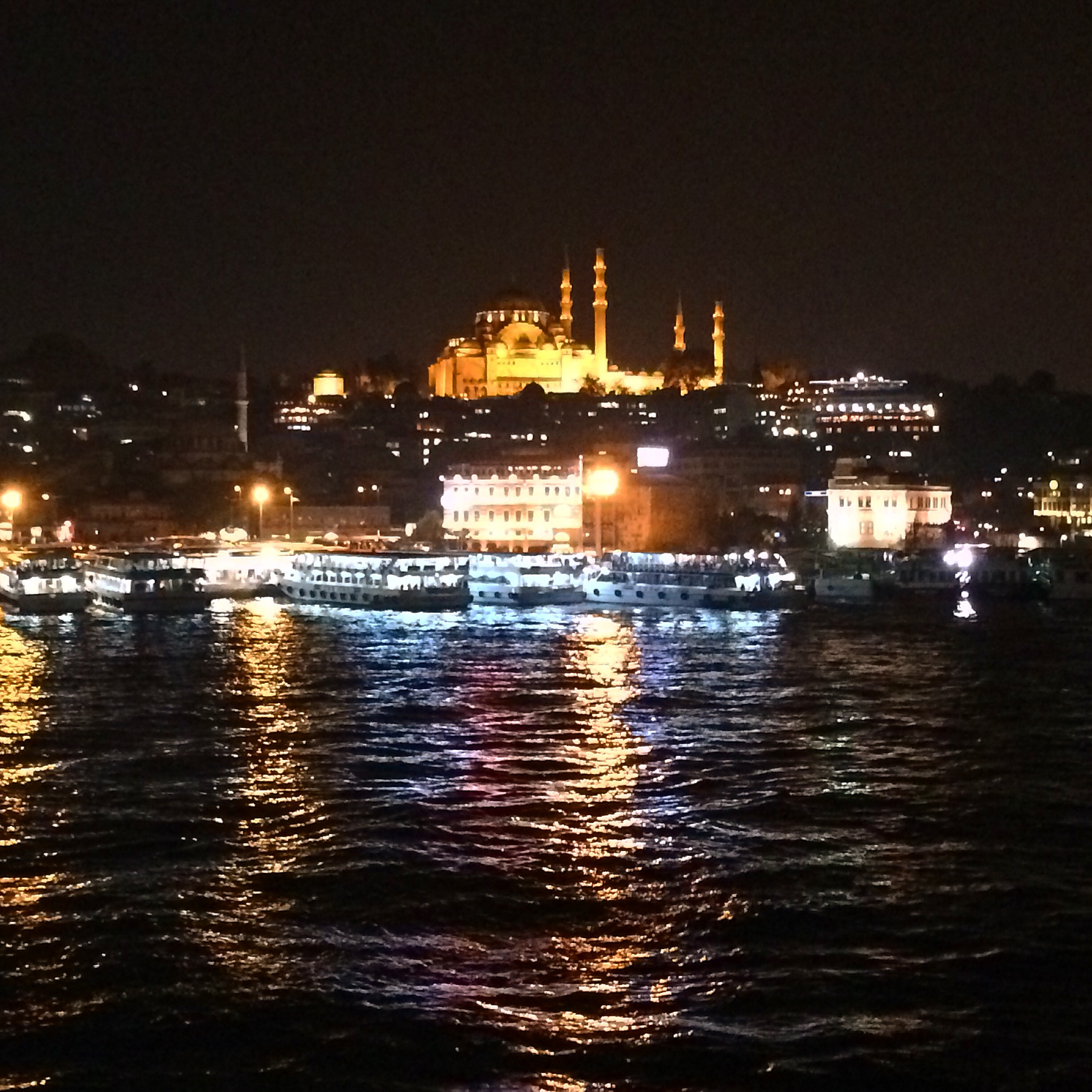 View of downtown Istanbul at night.