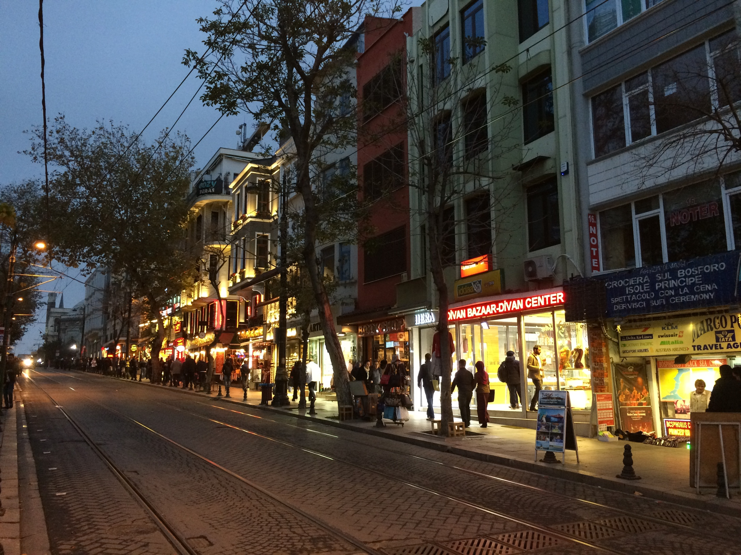 The streets of central Istanbul at dusk.
