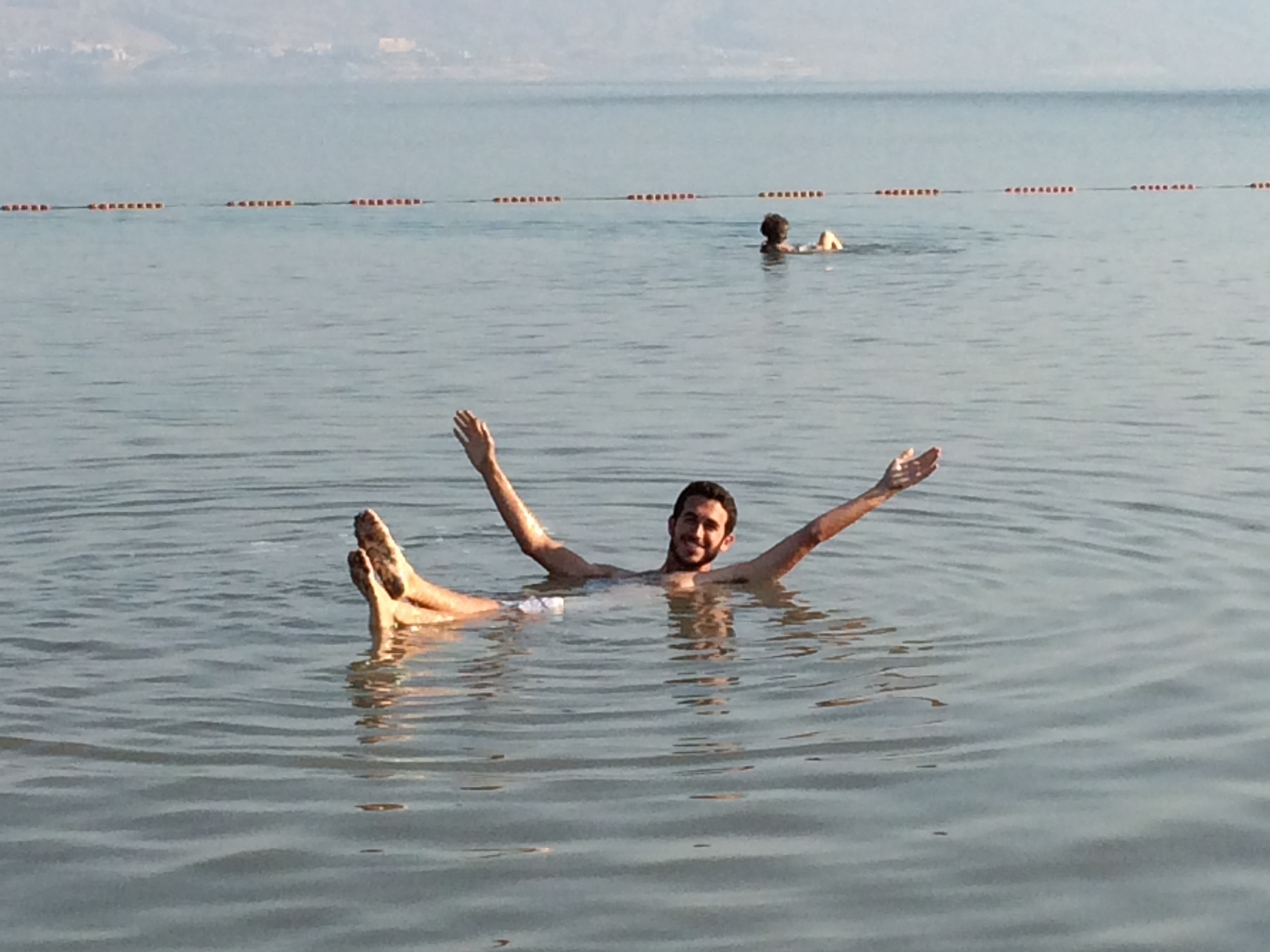 Floating in the Dead Sea in Israel.