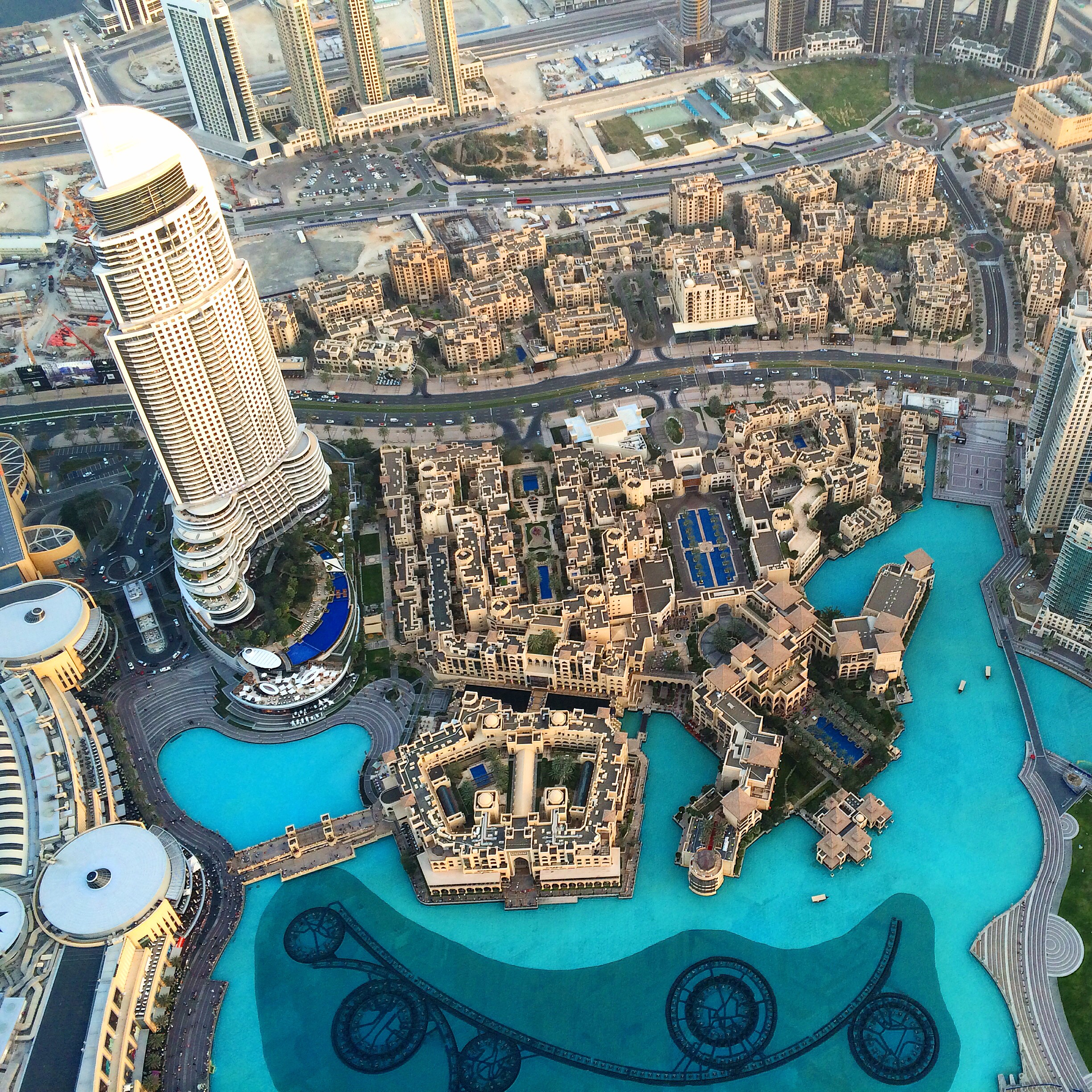 Staring down from the top of the Burj Khalifa in Dubai, UAE.