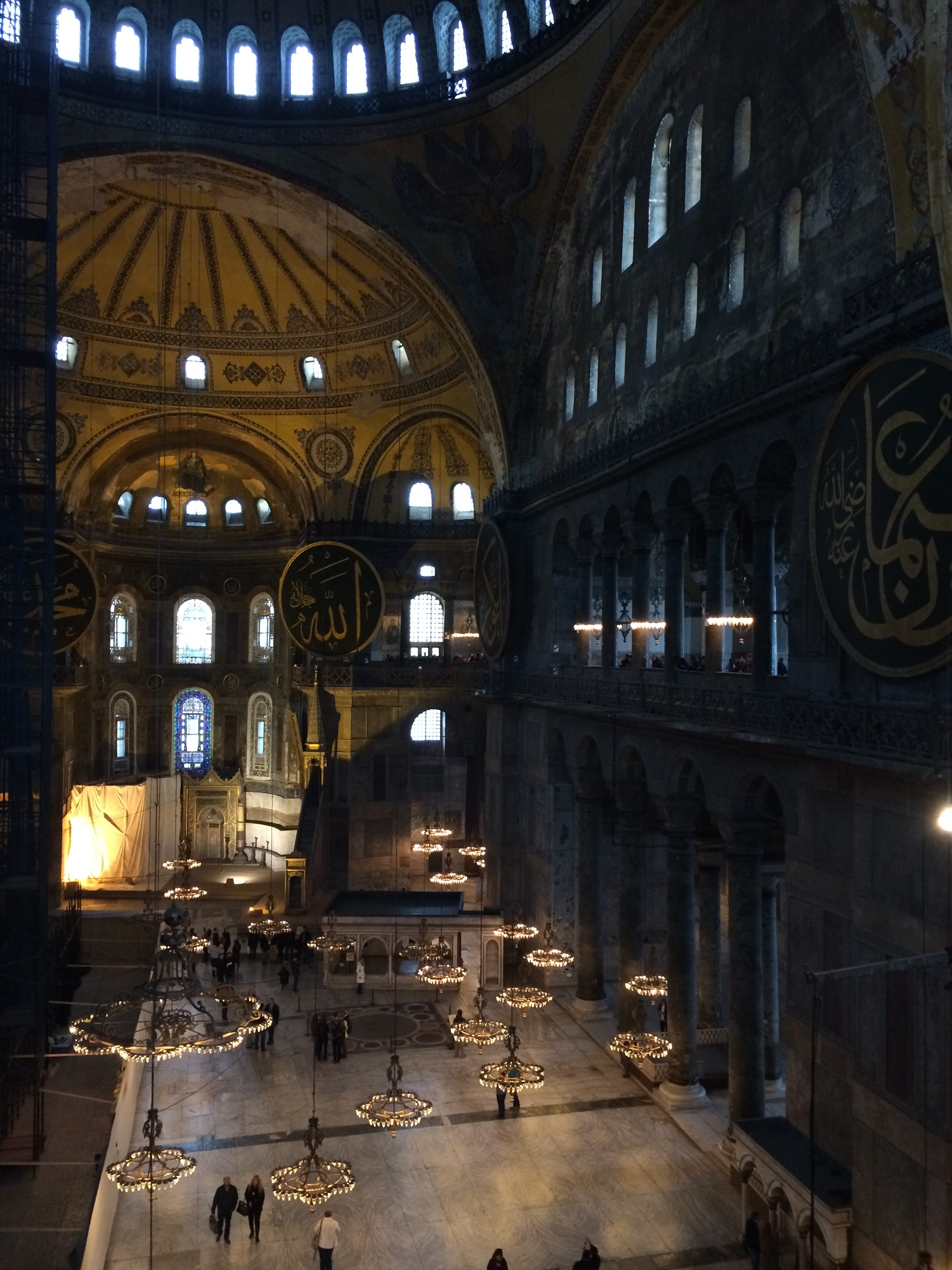 View of the Hagia Sophia interior from the second level.