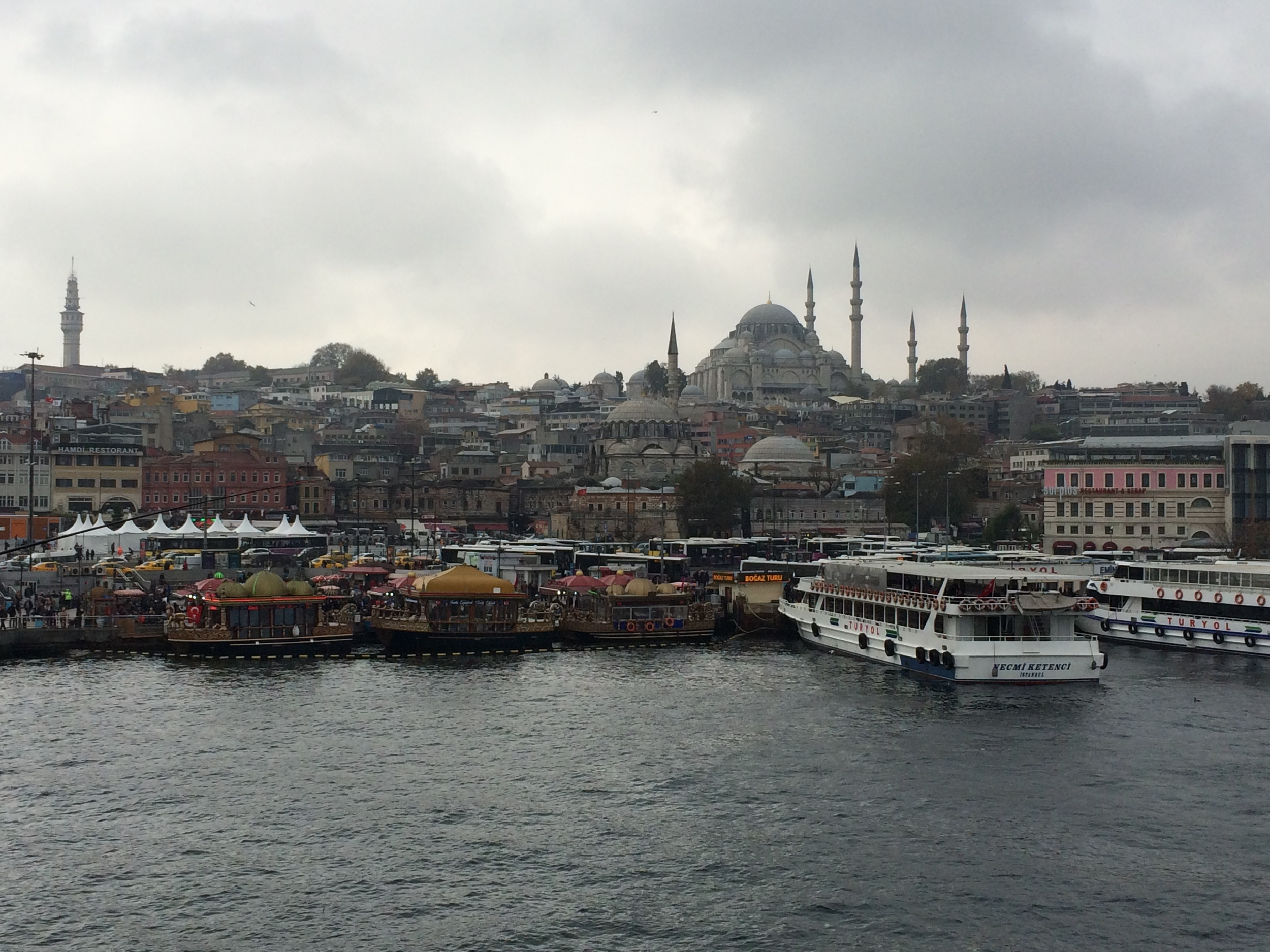 My view from the Galat Bridge in Istanbul, Turkey.