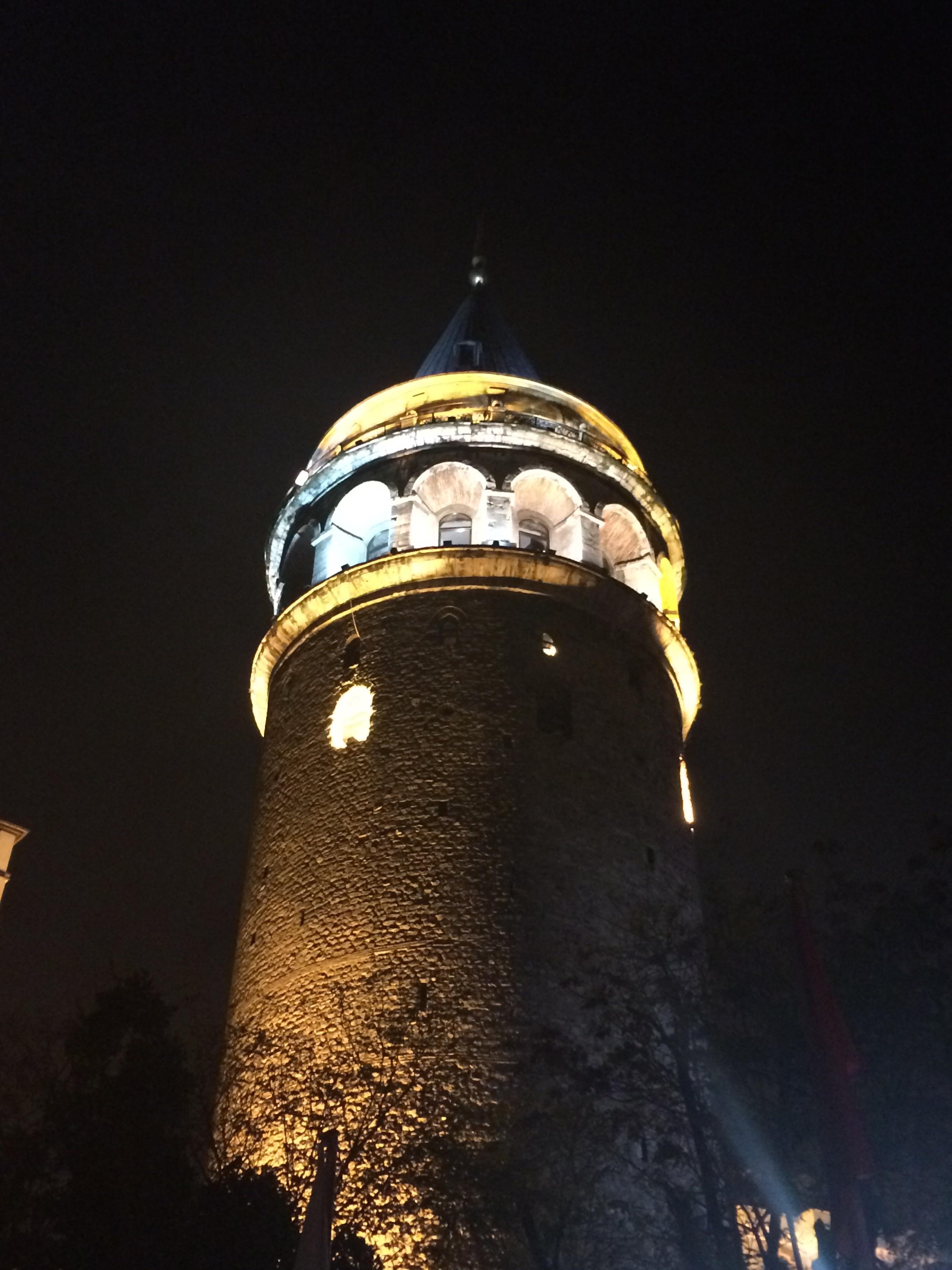 The Galata Tower at night.
