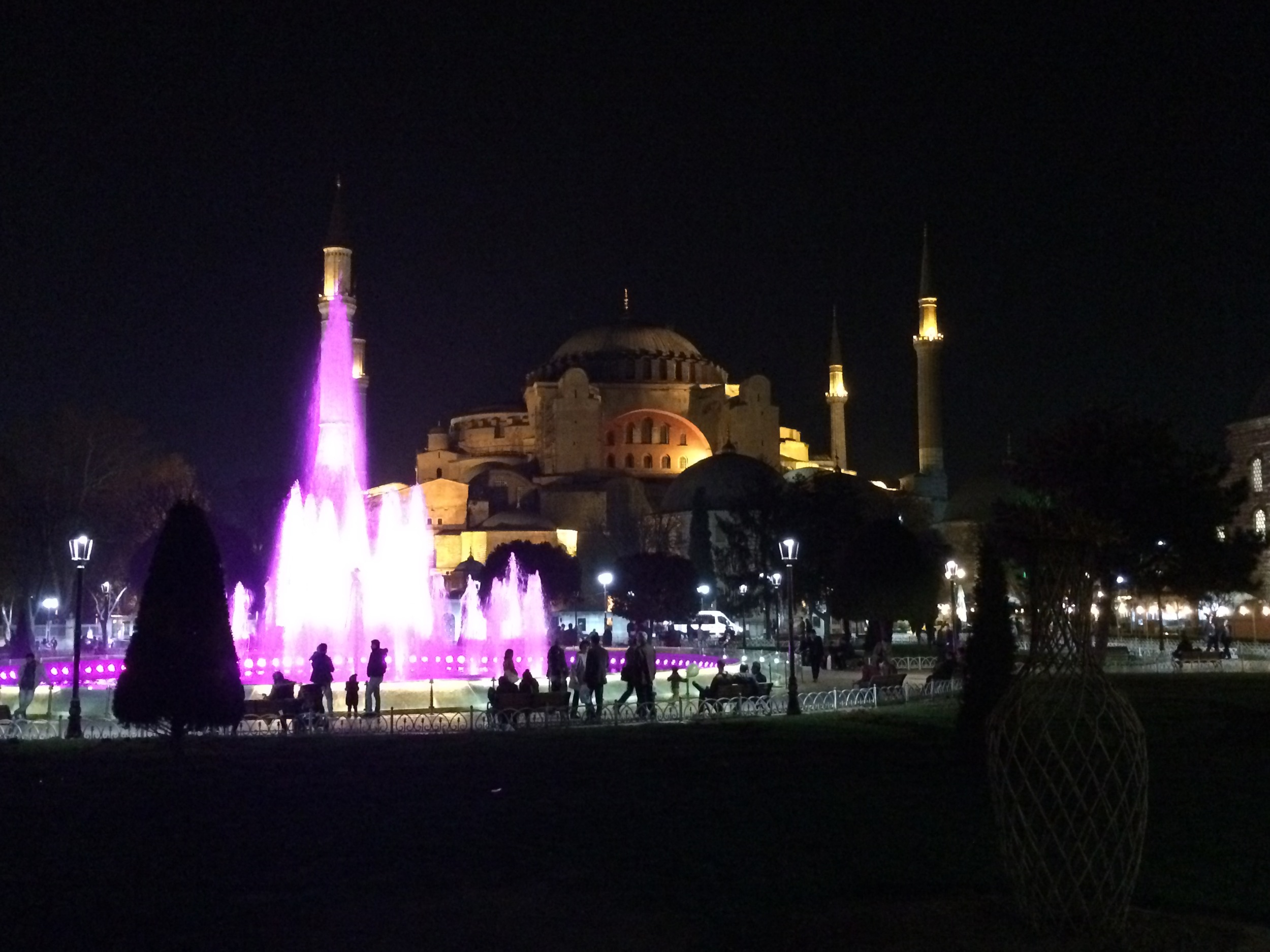The Hagia Sophia at night.