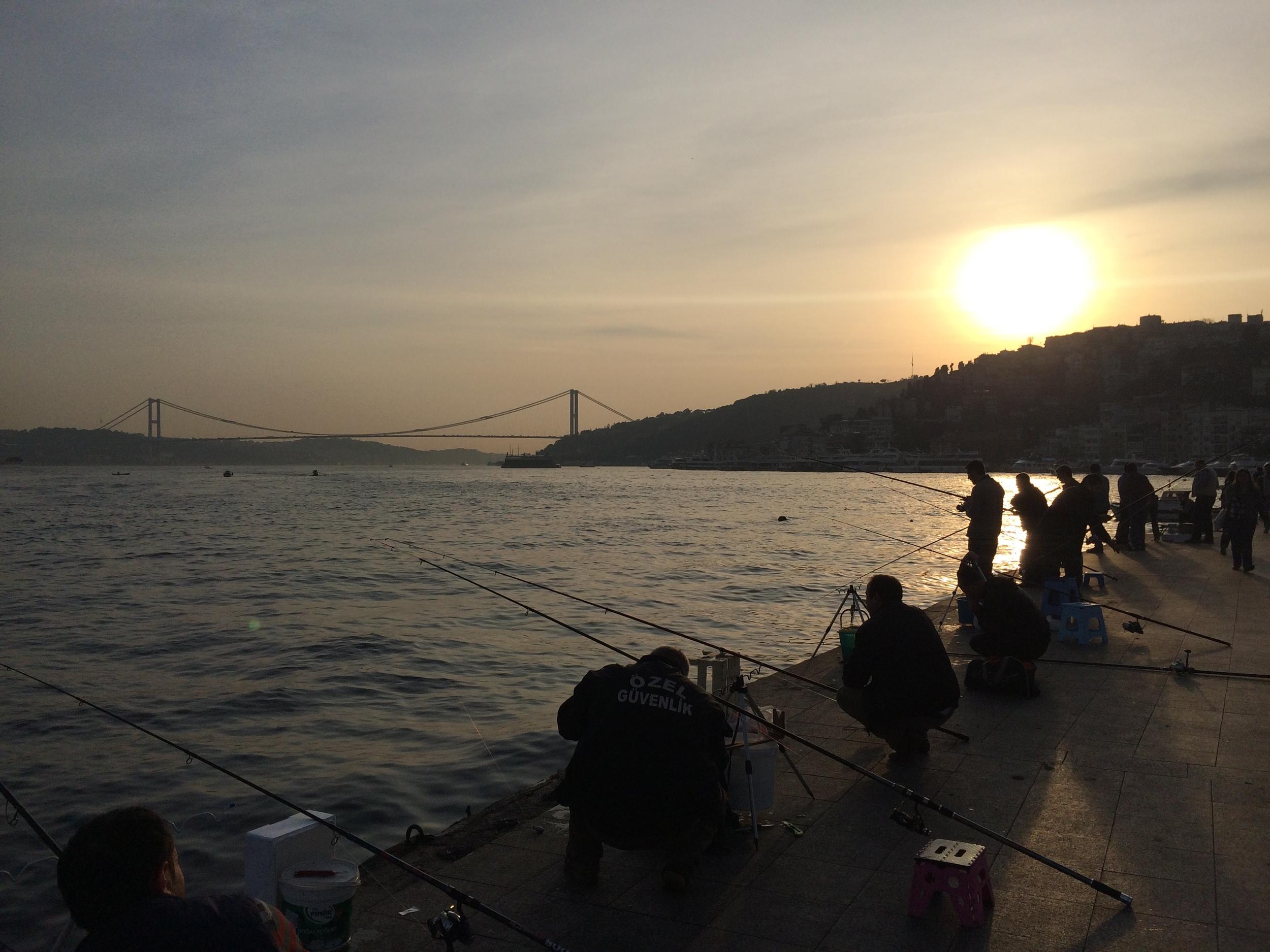 Fishermen along the Bosphorus in Babek.