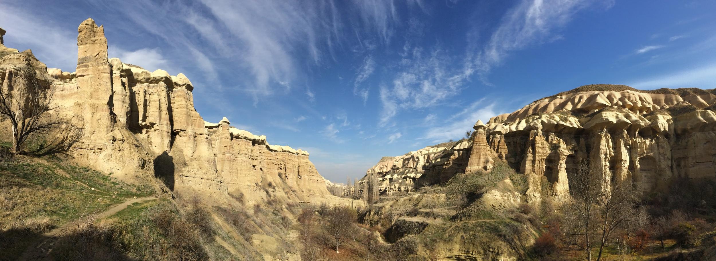 Panoramic shot of the valley during my hike to Uchisar.