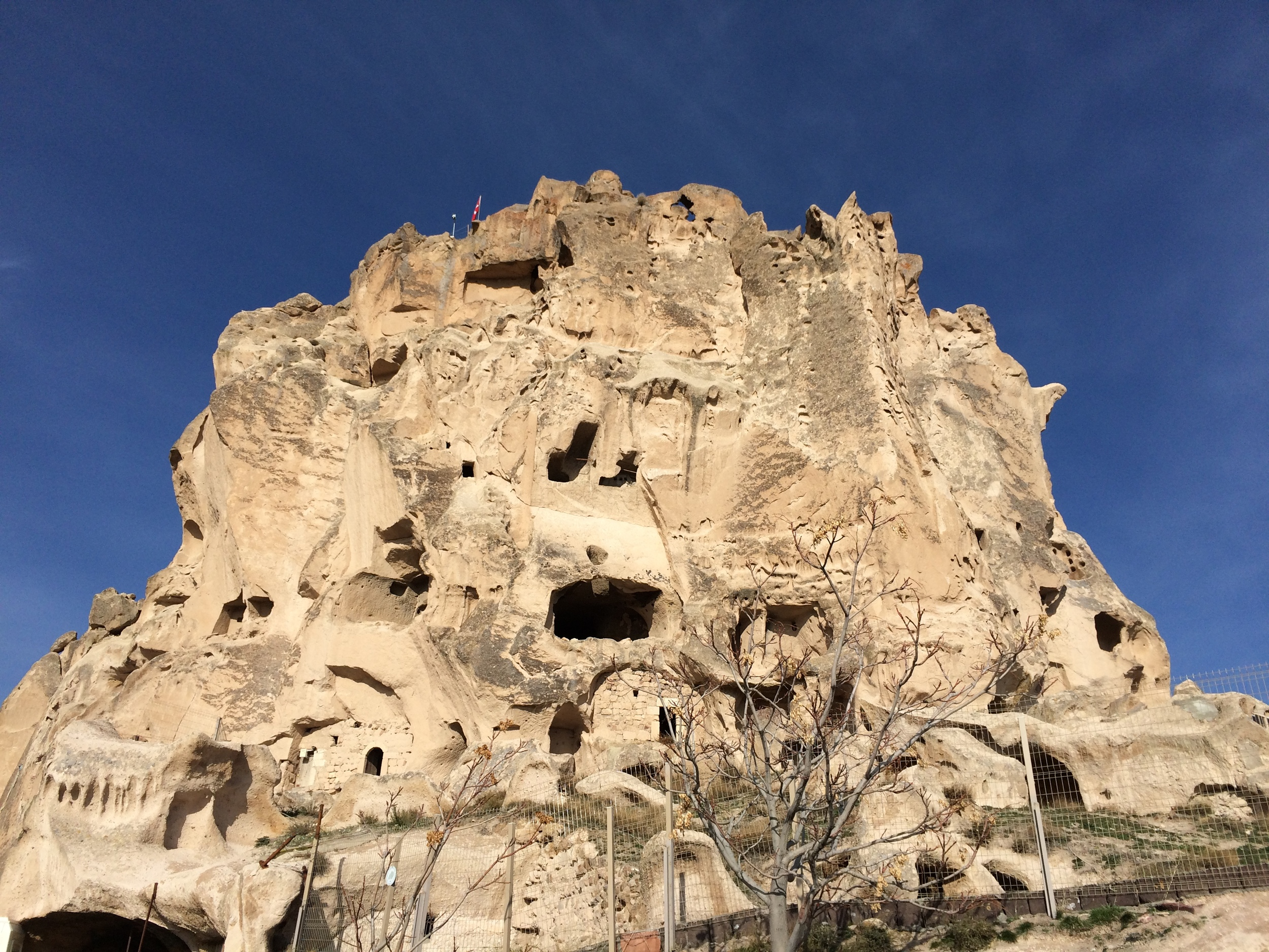 The main rock in Uchisar where the oldest caves are located.
