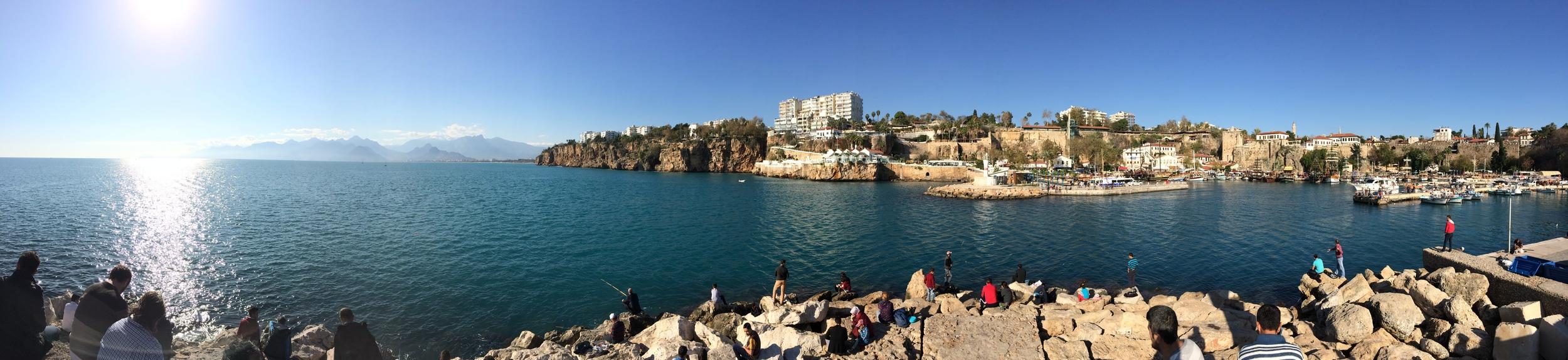 Panoramic shot of the harbor and the Gulf of Antalya.
