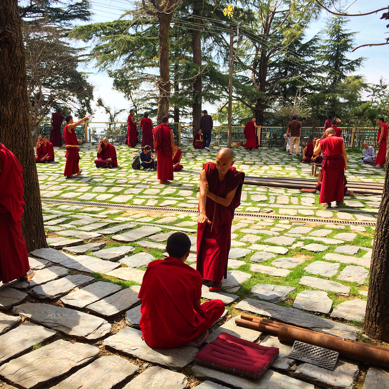 Tibetian buddhist monks giving blessings in India.