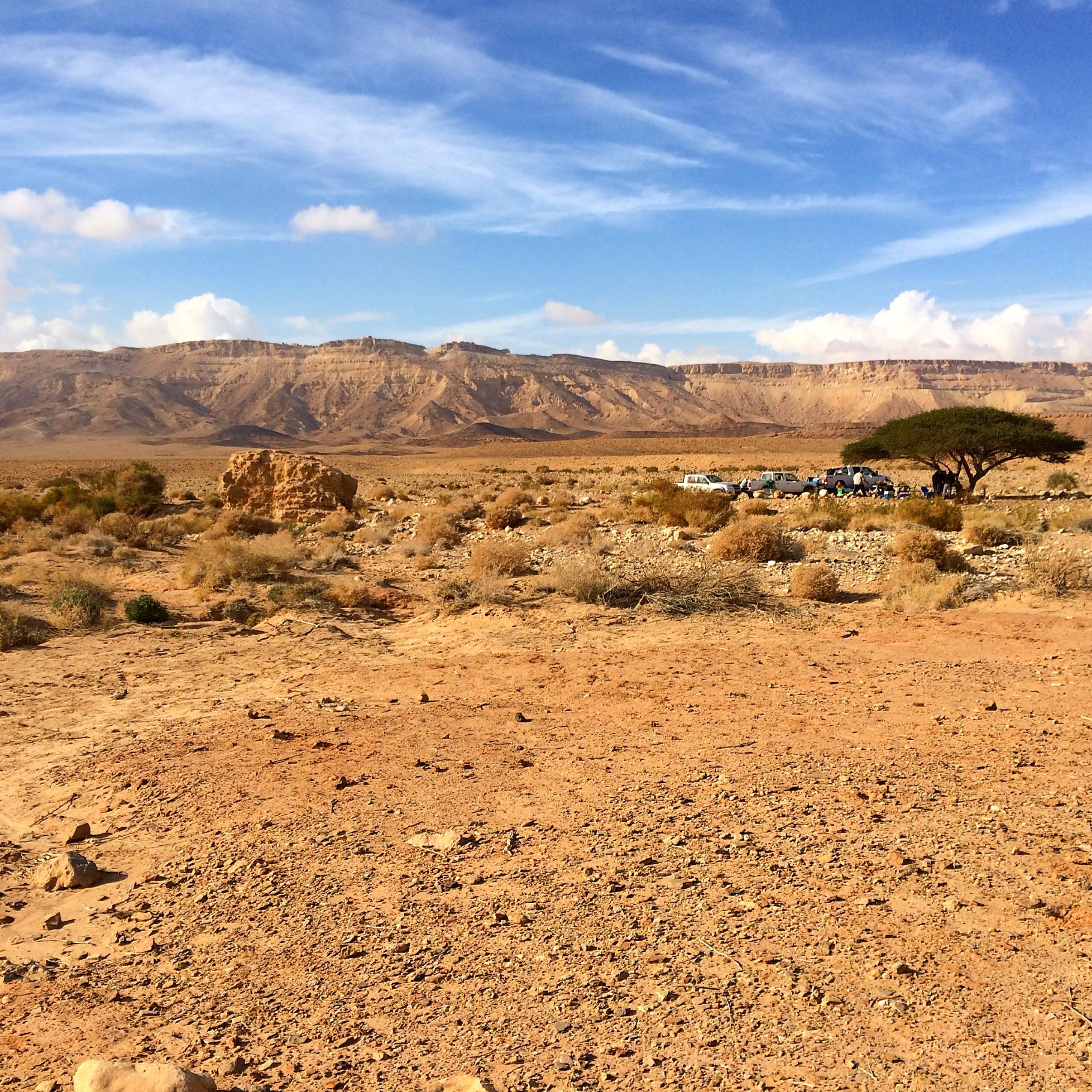 Trekking through the Israeli Desert in Mitzpe Ramon.