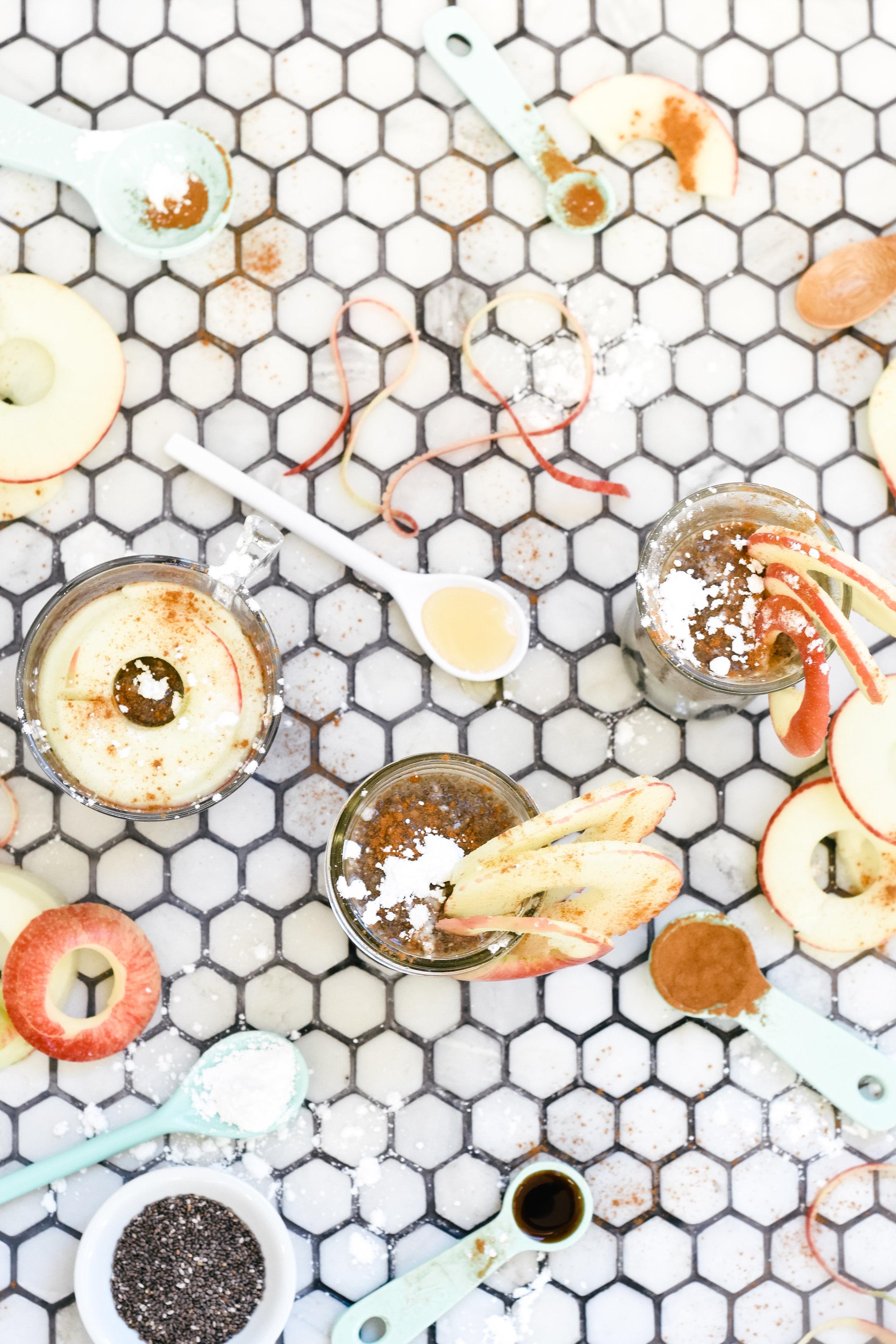 Apple Cinnamon Vegan Chia Seed Pudding with Good Karma Flax Milk