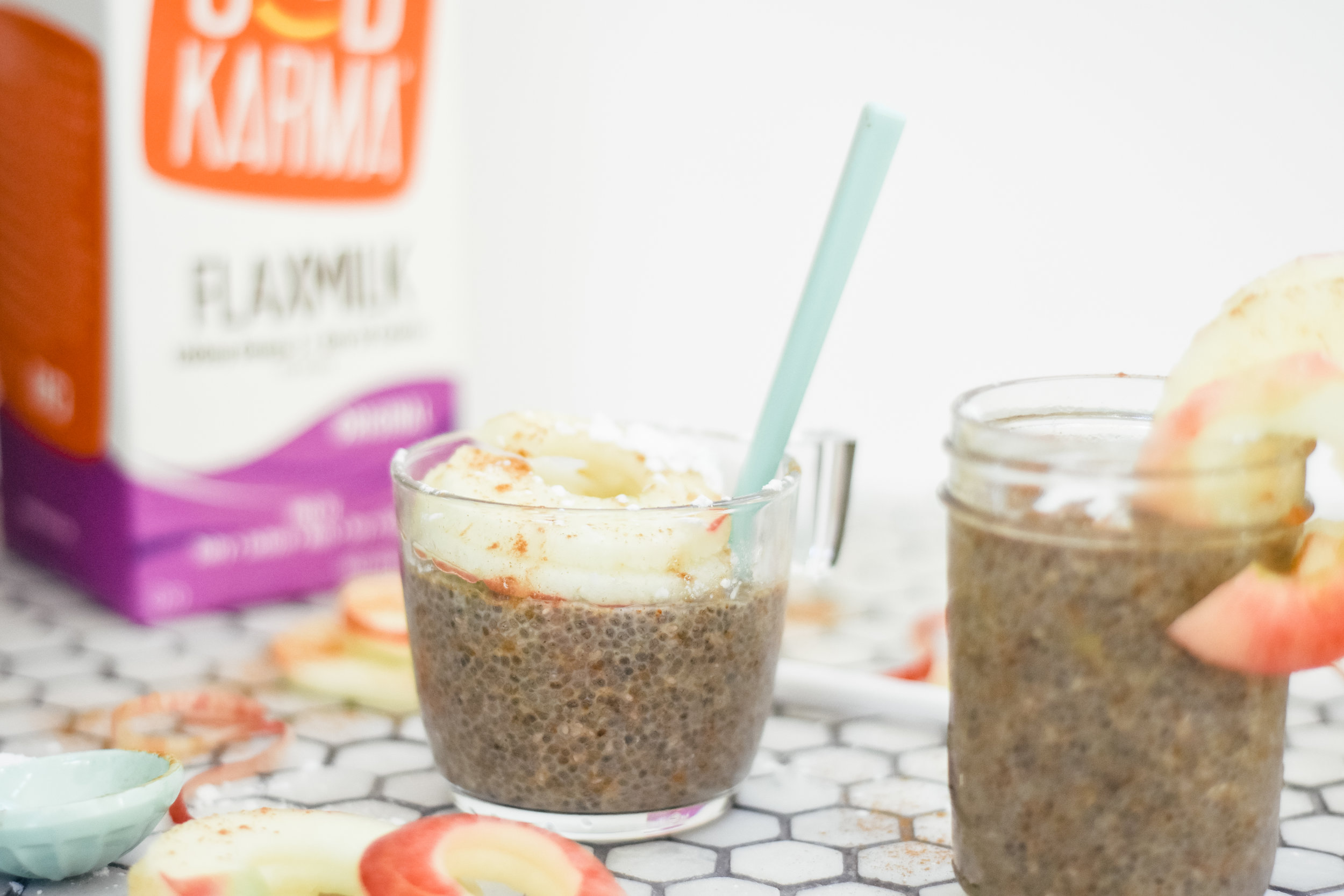 Vegan Apple Cinnamon Chia Seed Pudding with Good Karma Flax Milk